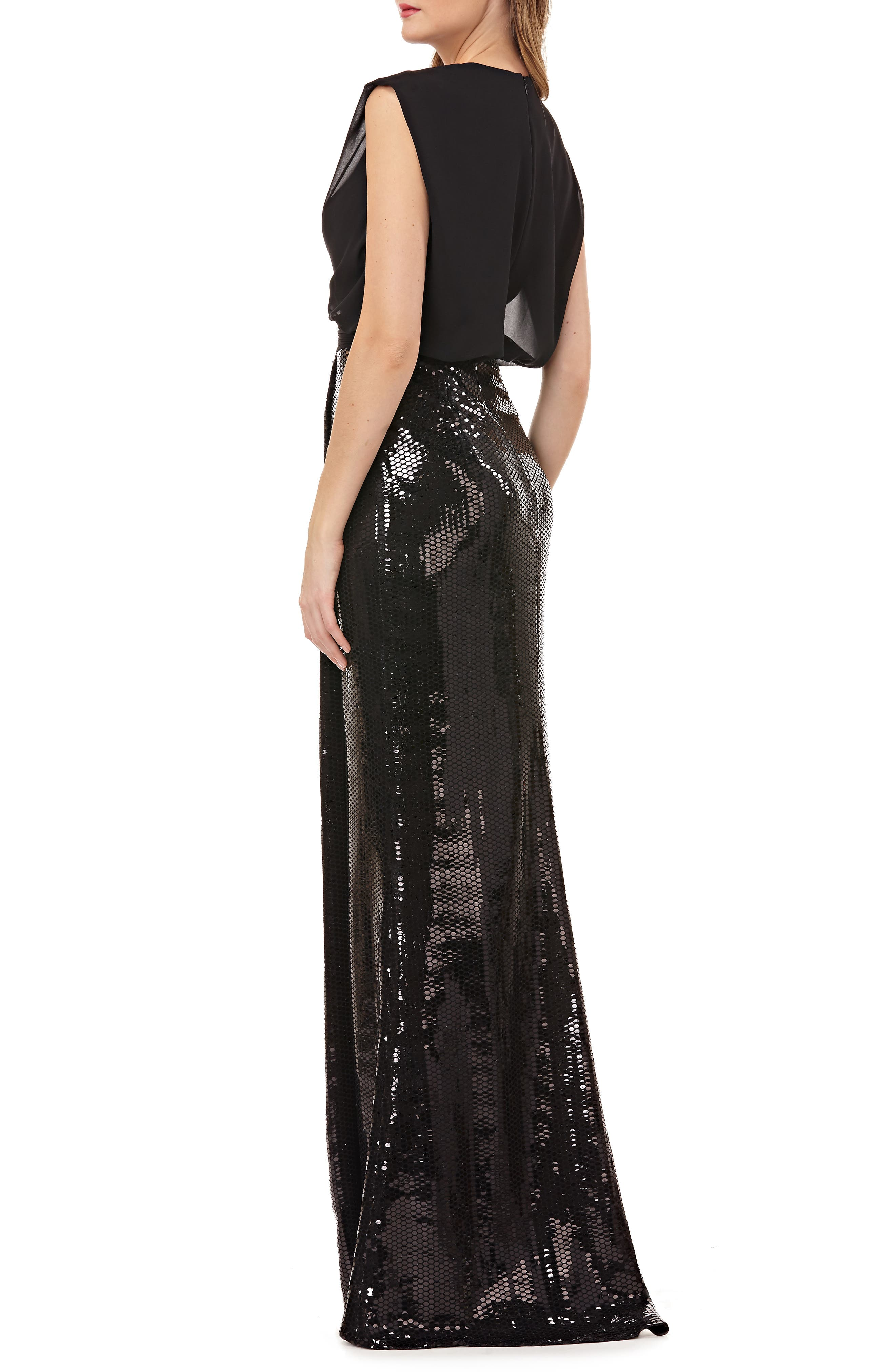 KAY UNGER, Sequin Gown, Alternate thumbnail 2, color, 001