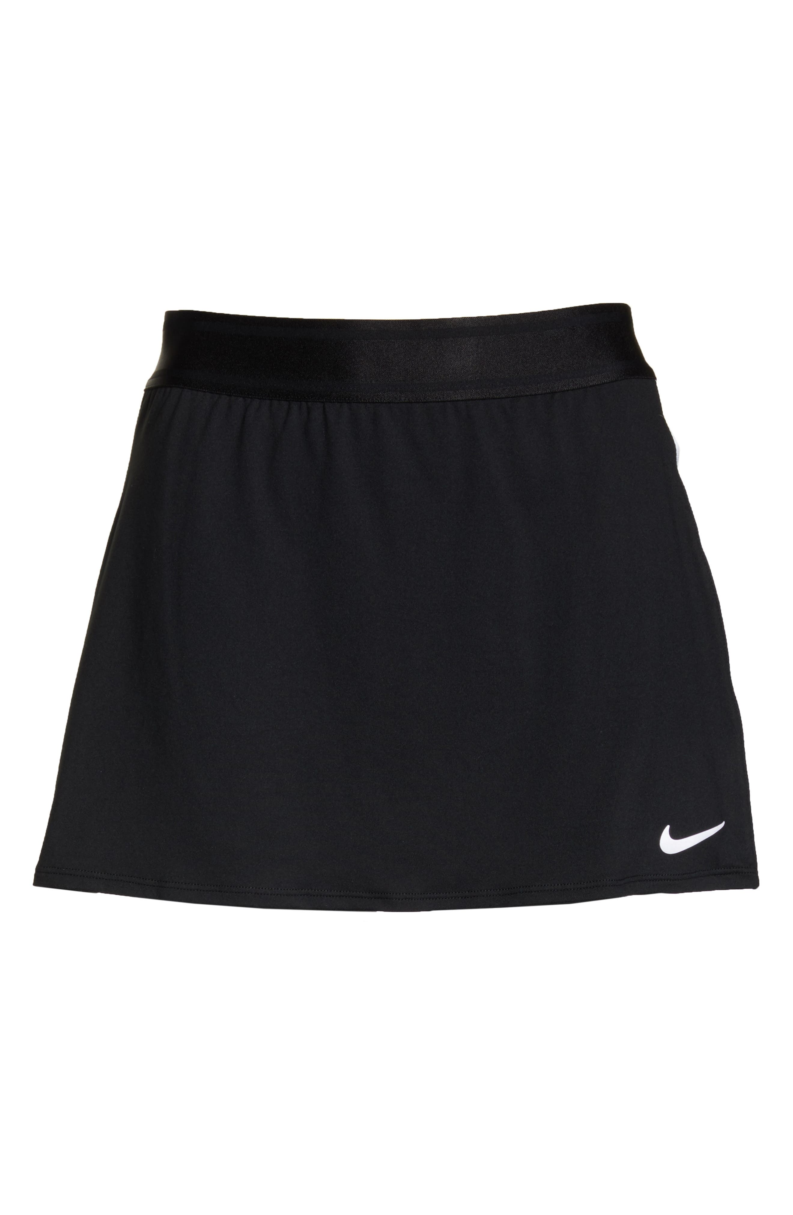 NIKE, Court Dry-FIT Tennis Skirt, Alternate thumbnail 7, color, BLACK/ WHITE/ WHITE/ BLACK
