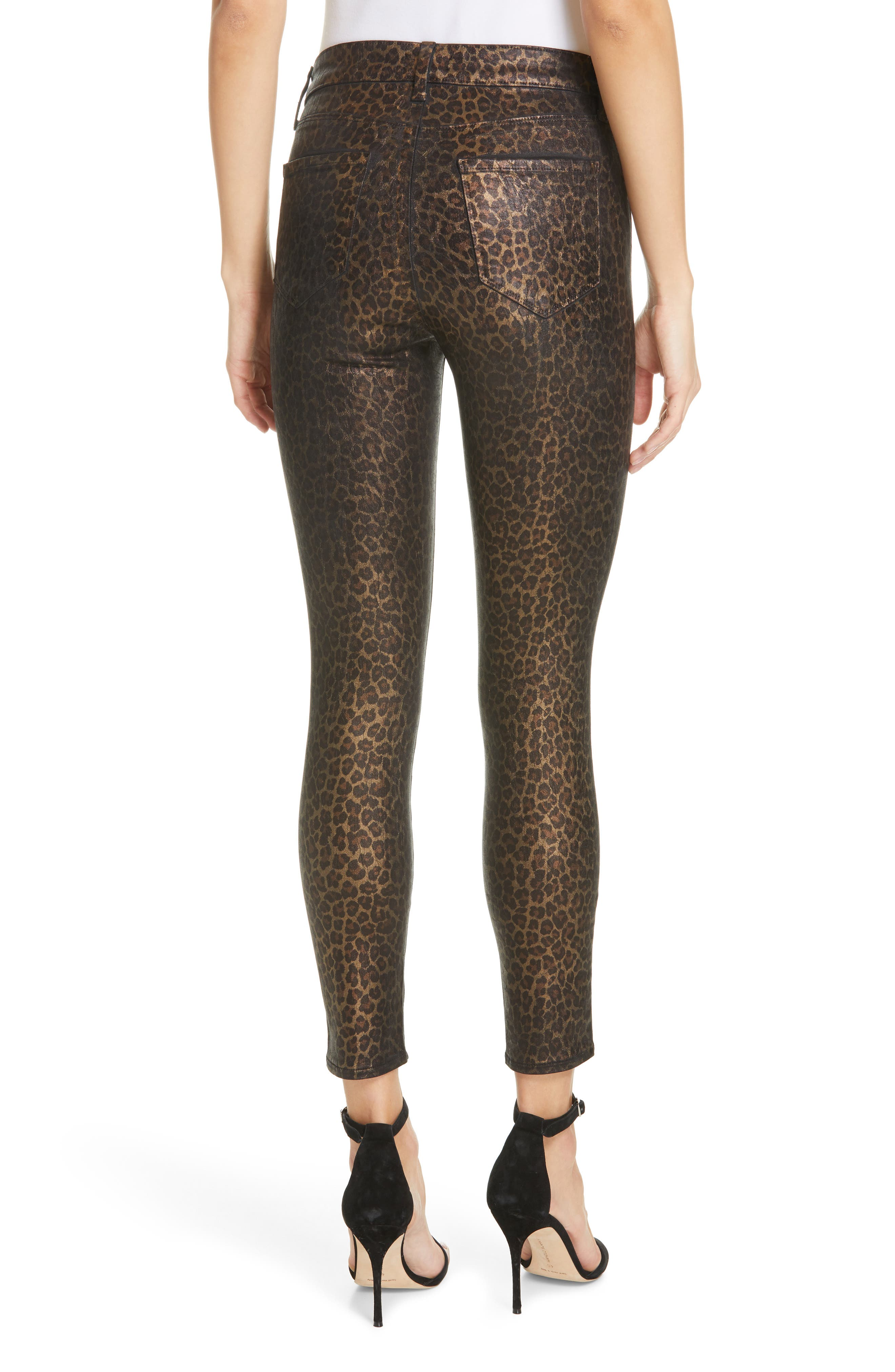 L'AGENCE, Margot Metallic Coated Crop Skinny Jeans, Alternate thumbnail 2, color, BLACK CHEETAH CRACKLE FOIL