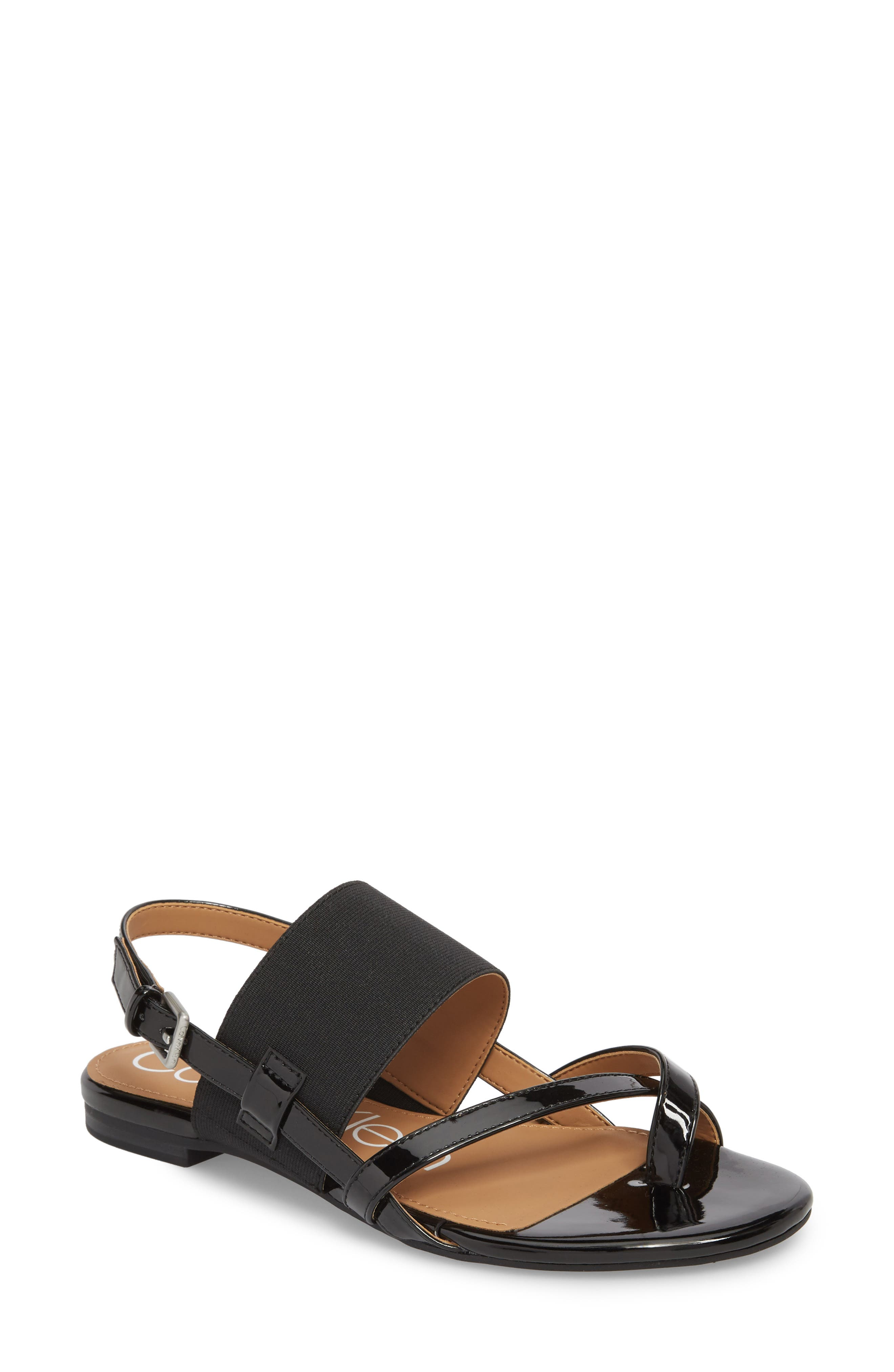 CALVIN KLEIN, Berry Sandal, Main thumbnail 1, color, 001