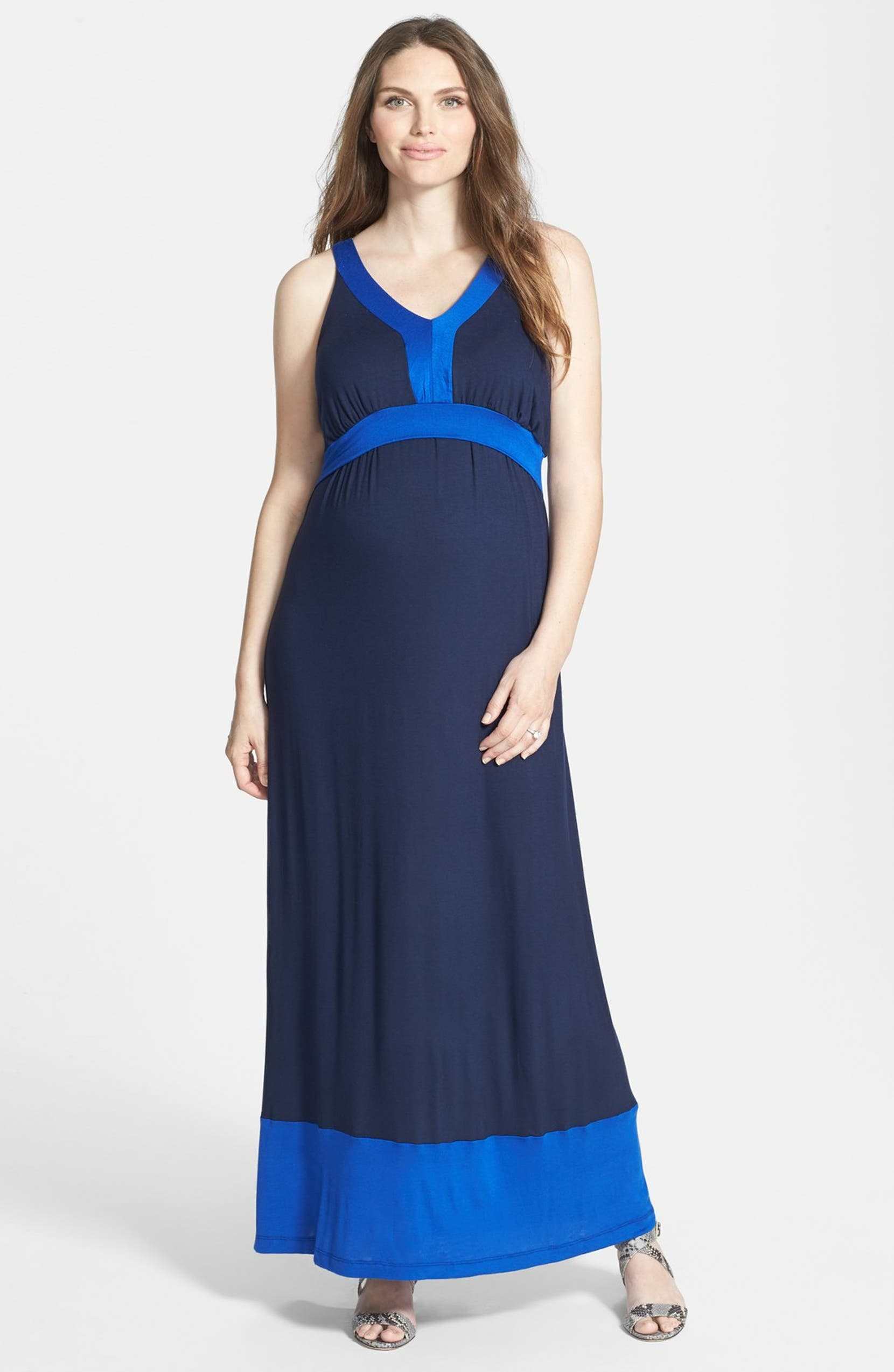 4bd9b4b6c4987 Japanese Weekend Colorblock Maxi Maternity Dress | Nordstrom