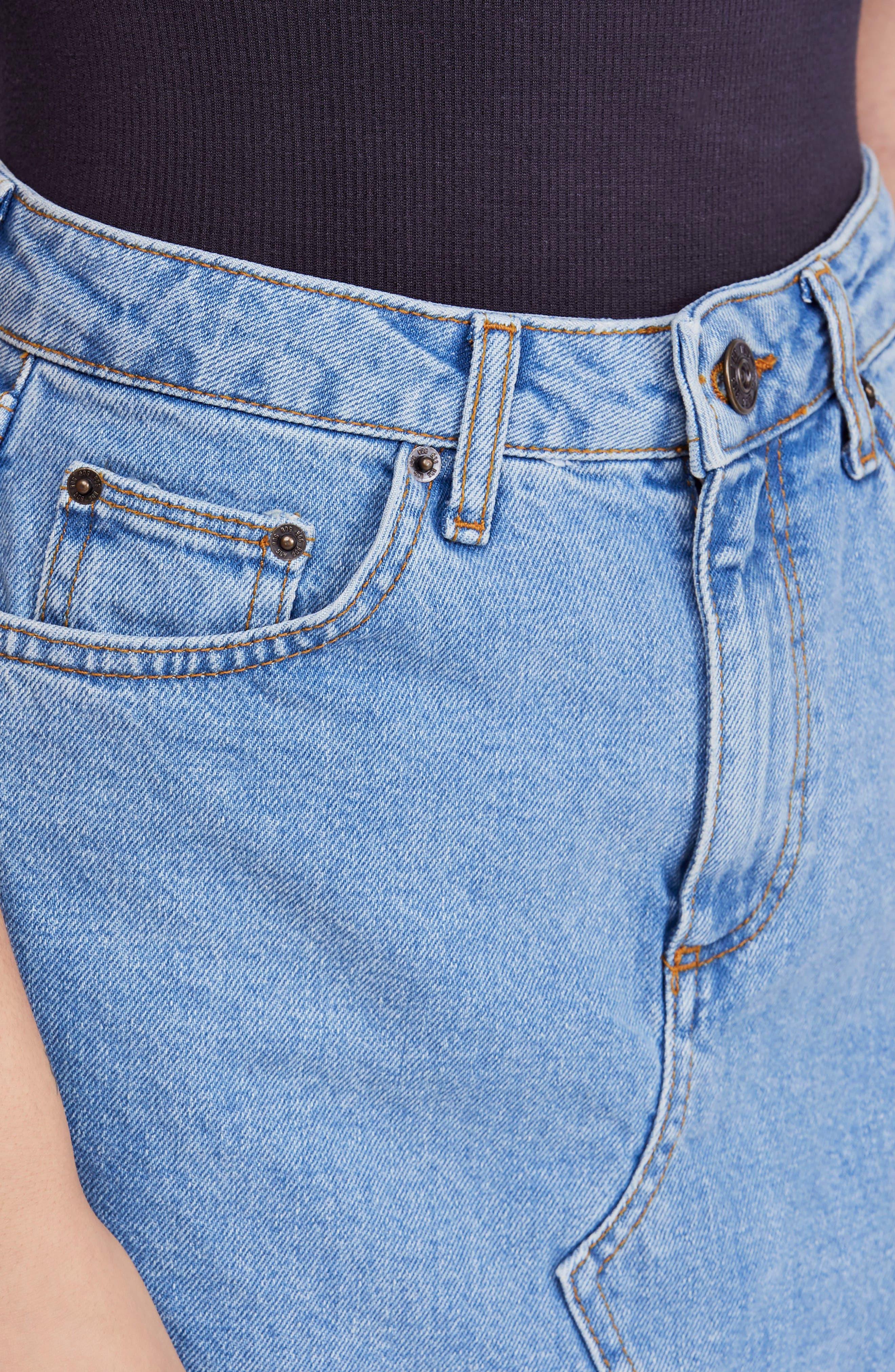 BDG, Urban Outfitters Denim Raw Edge Miniskirt, Alternate thumbnail 5, color, 400