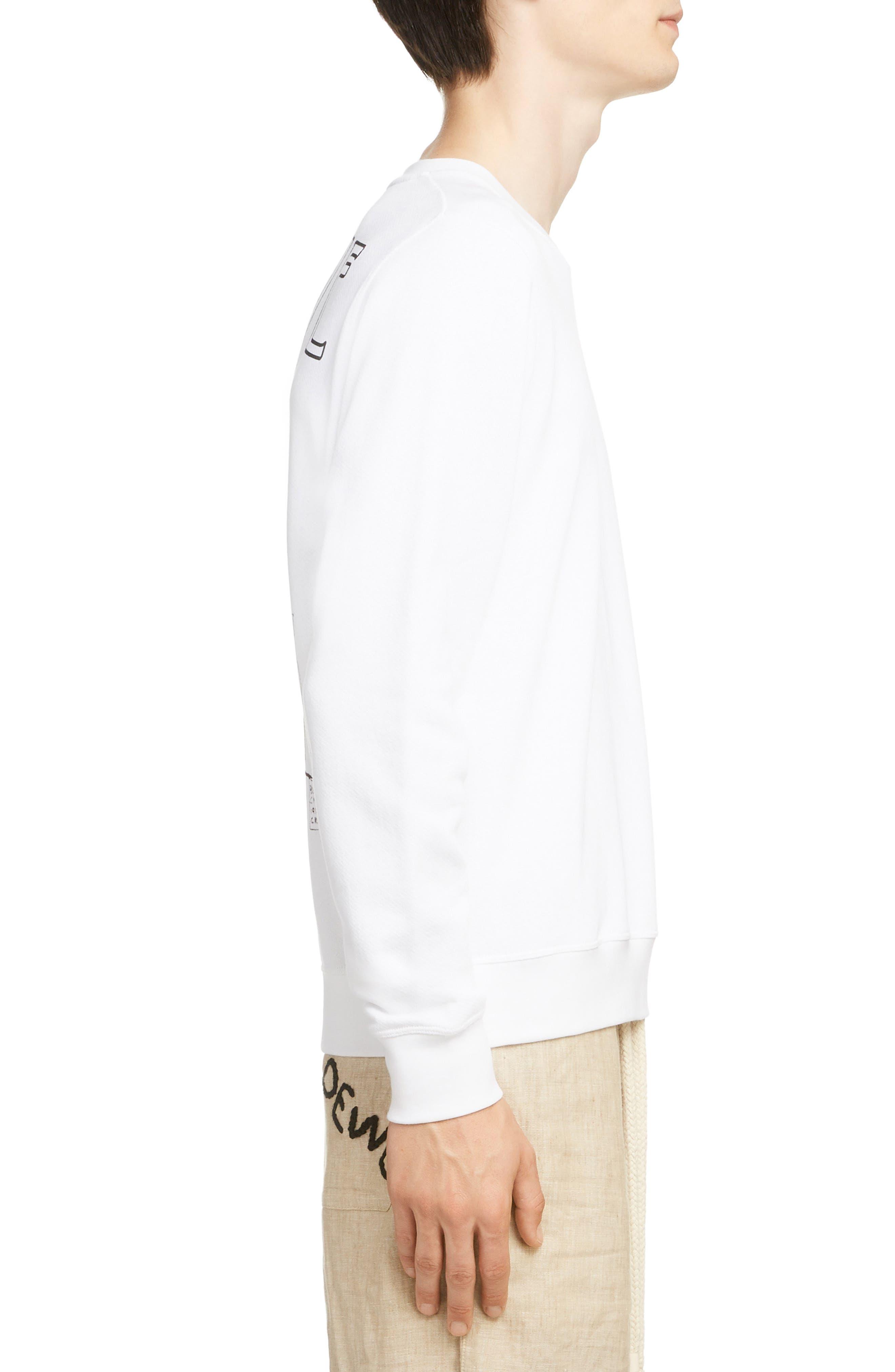 LOEWE, Charles Rennie Mackintosh Collection Botanical Print Sweatshirt, Alternate thumbnail 3, color, 2100-WHITE