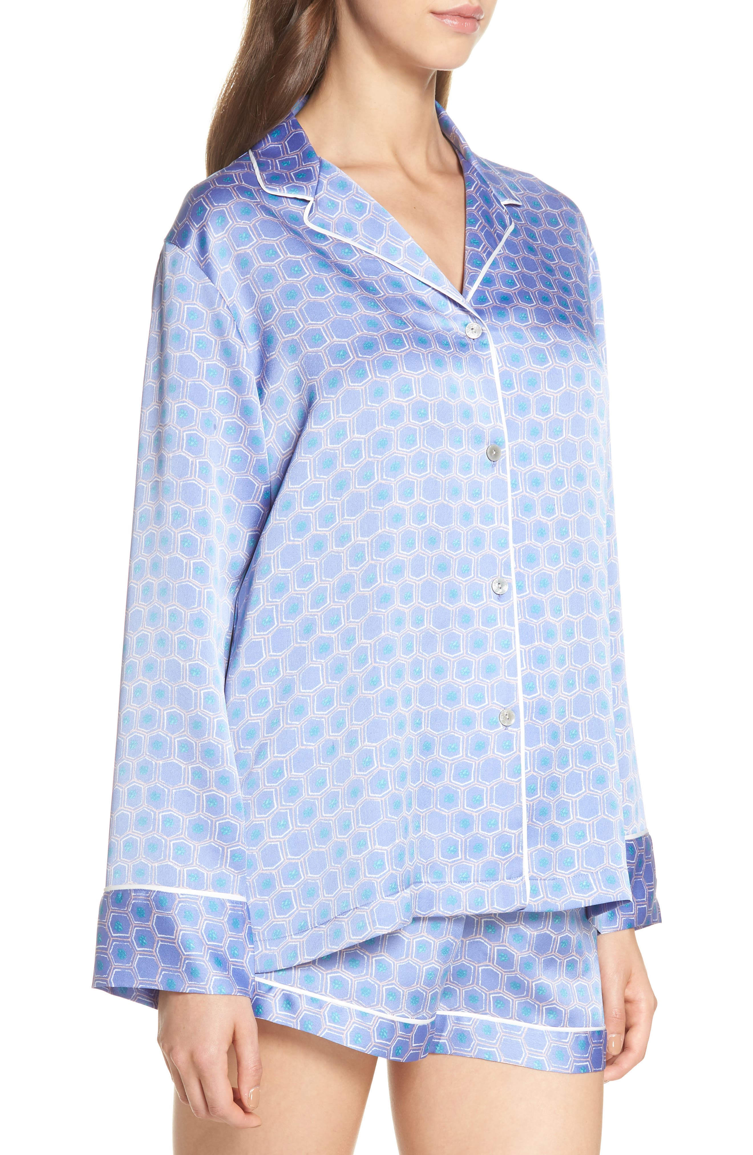 NATORI, Honeycomb Short Pajamas, Alternate thumbnail 3, color, WEDGEWOOD