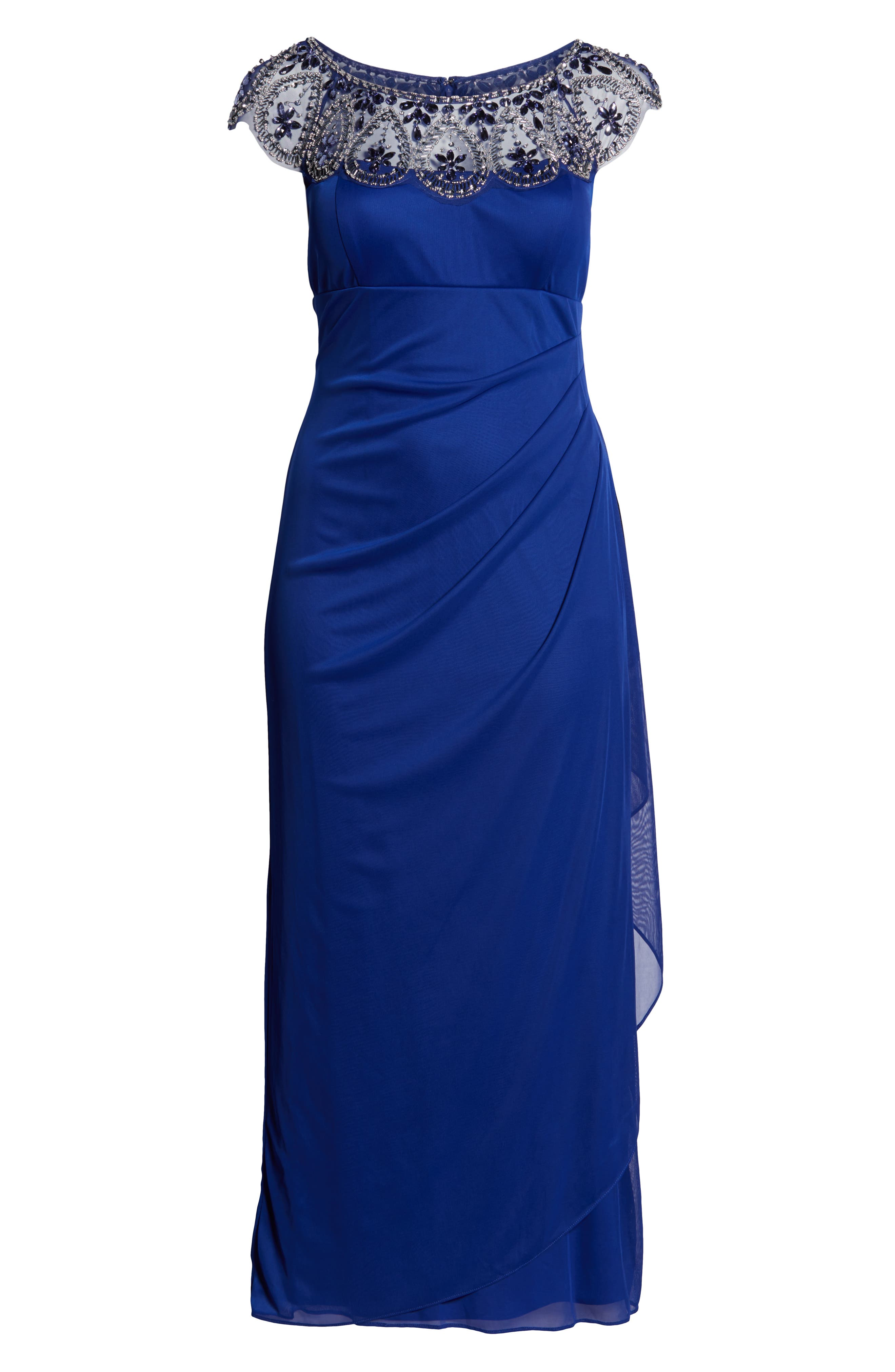 XSCAPE, Beaded Neck Empire Gown, Alternate thumbnail 3, color, ROYAL