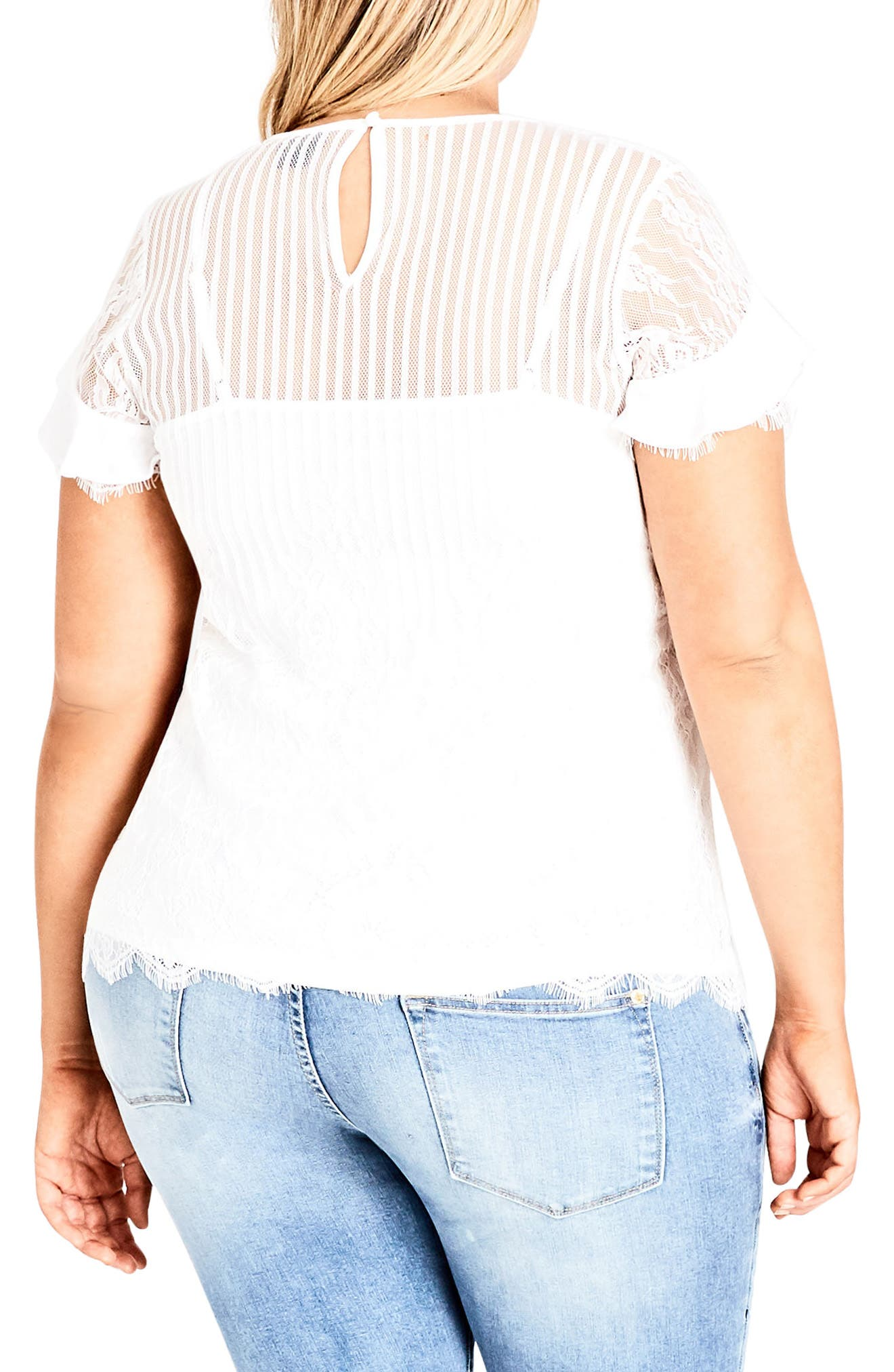 CITY CHIC, Ruffle Stripe Lace Top, Alternate thumbnail 2, color, IVORY