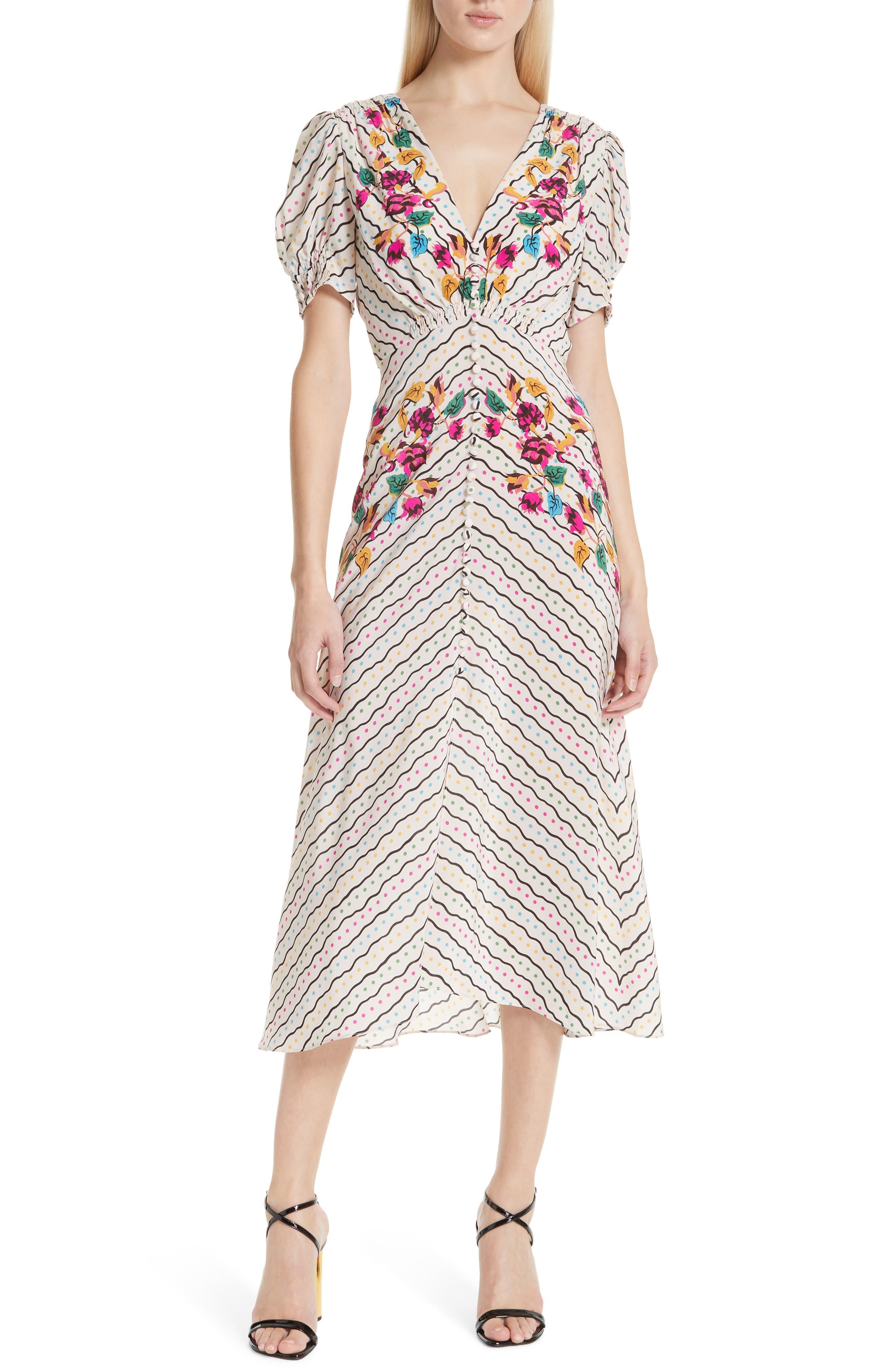 SALONI, Lea Silk Midi Dress, Main thumbnail 1, color, JAPONICA WIGGLE PLACEMENT