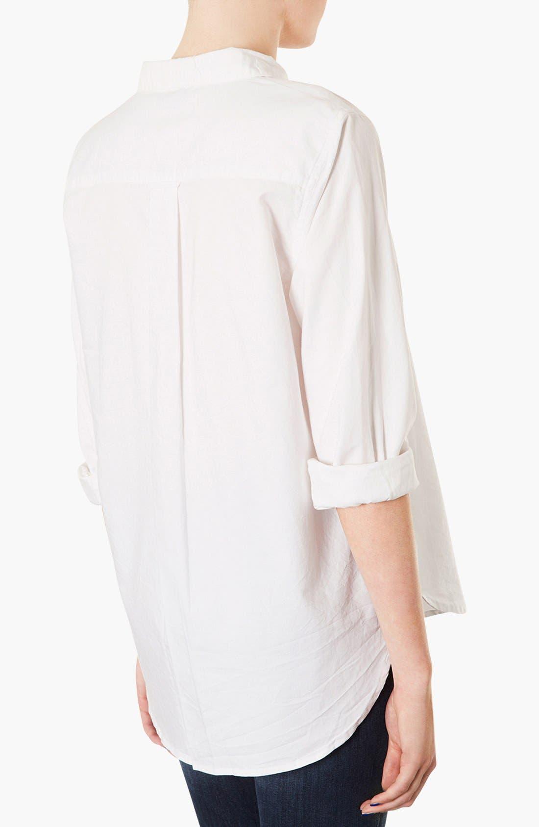 TOPSHOP, Woven Oxford Shirt, Alternate thumbnail 3, color, 100