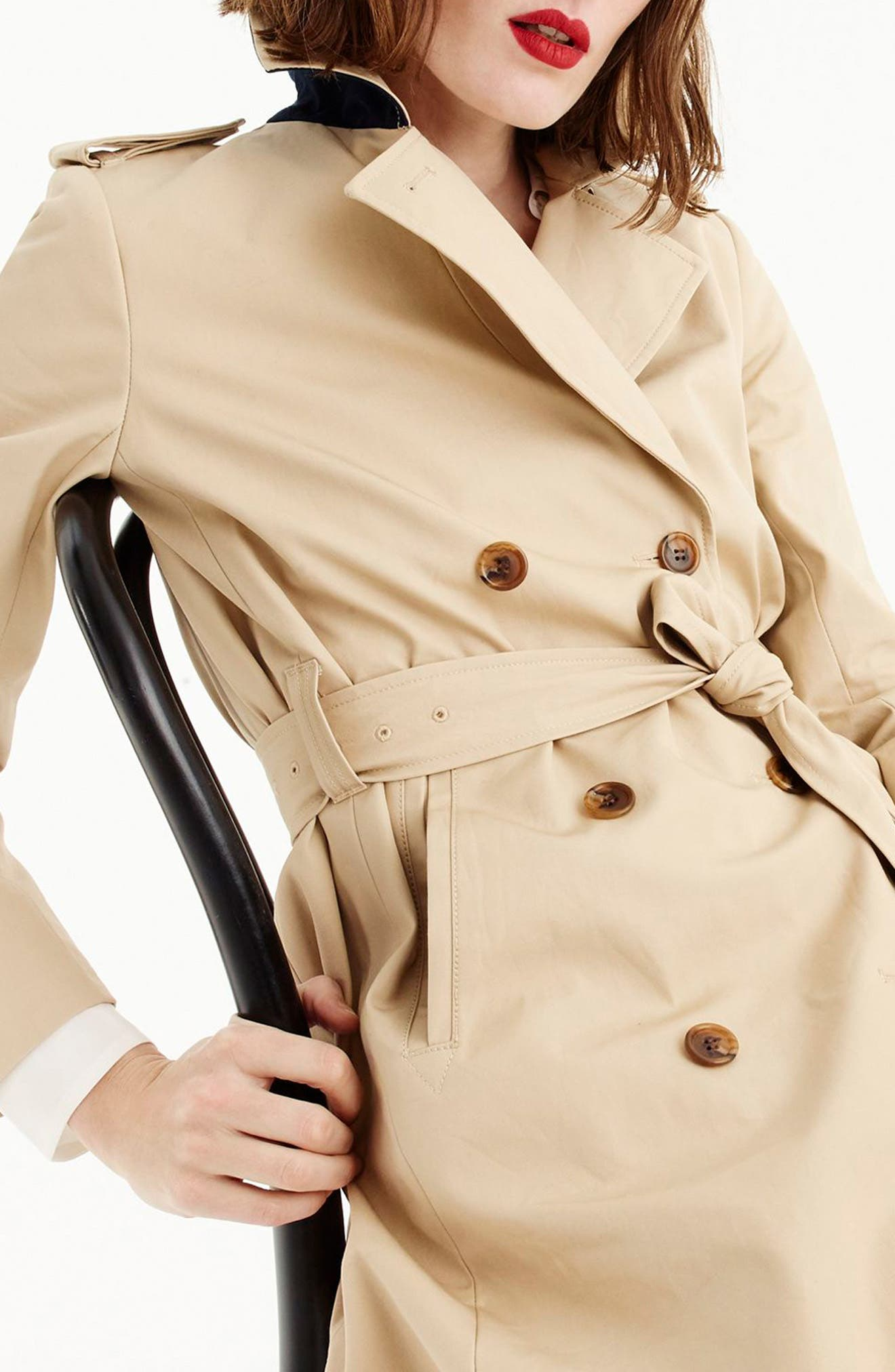 J.CREW, 2011 Icon Trench Coat, Alternate thumbnail 5, color, VINTAGE KHAKI