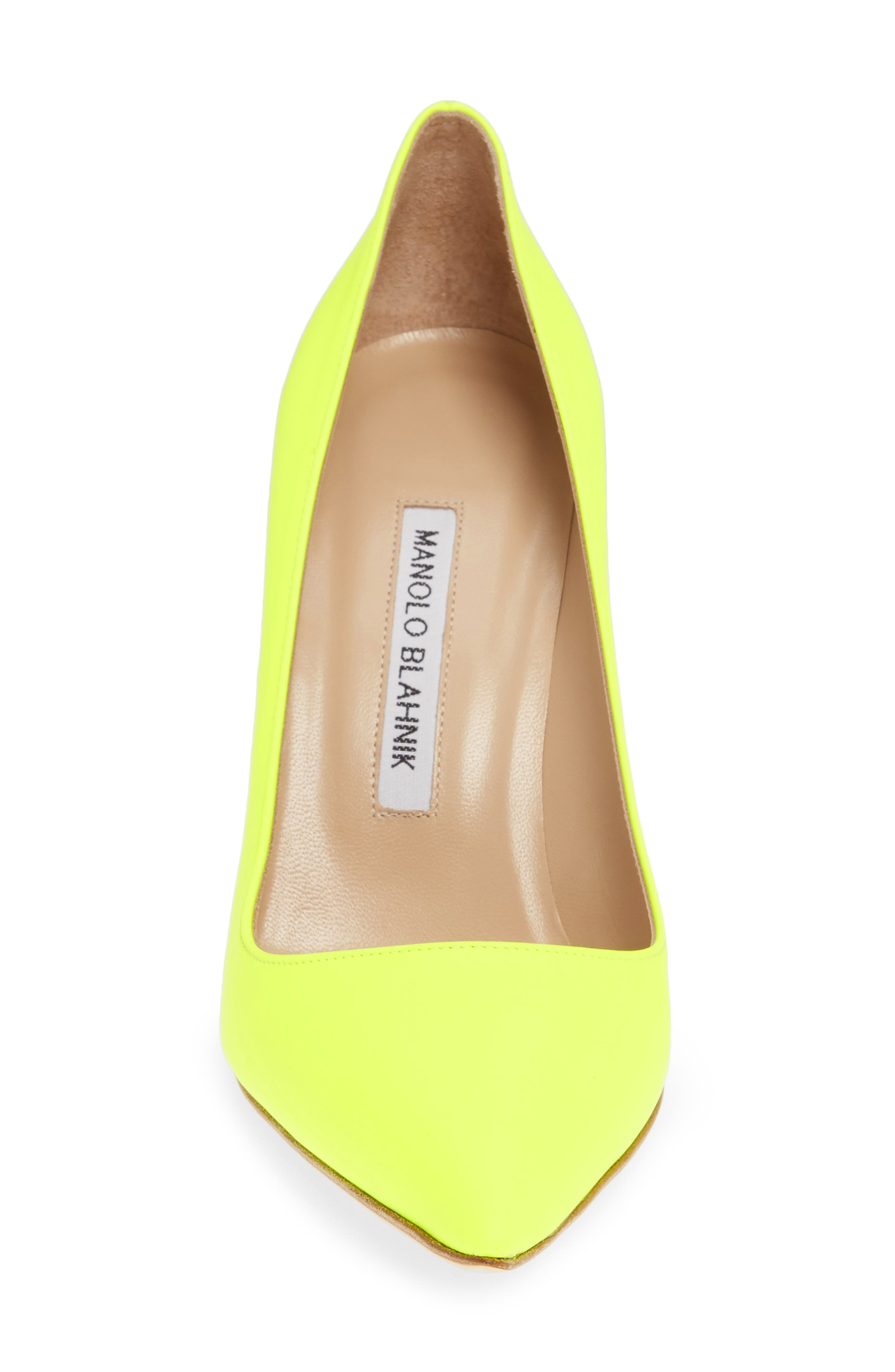 MANOLO BLAHNIK, 'BB' Pointy Toe Pump, Alternate thumbnail 4, color, YELLOW PATENT
