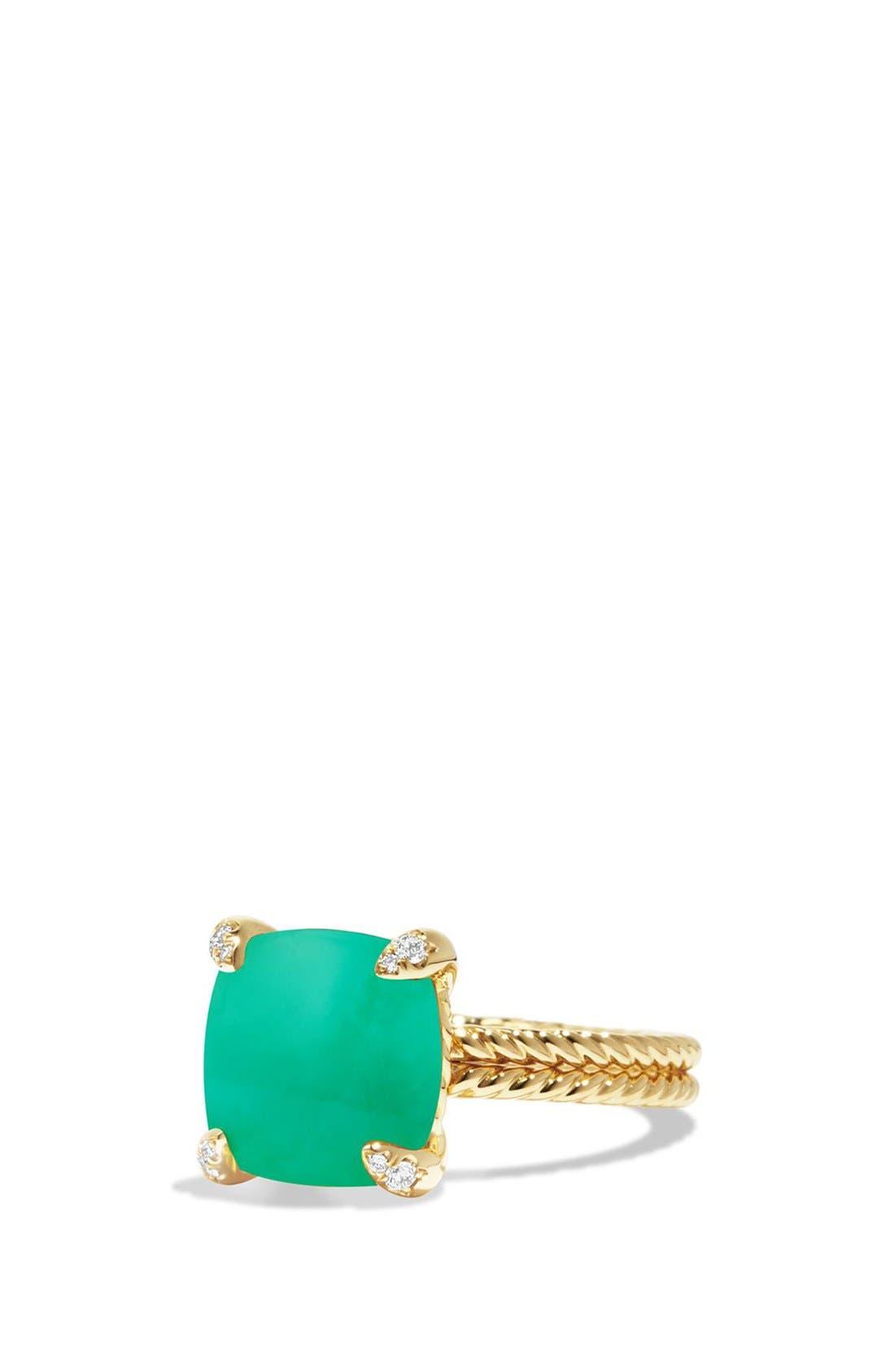 DAVID YURMAN, 'Chatelaine' Ring with Diamonds, Main thumbnail 1, color, CHRYSOPRASE