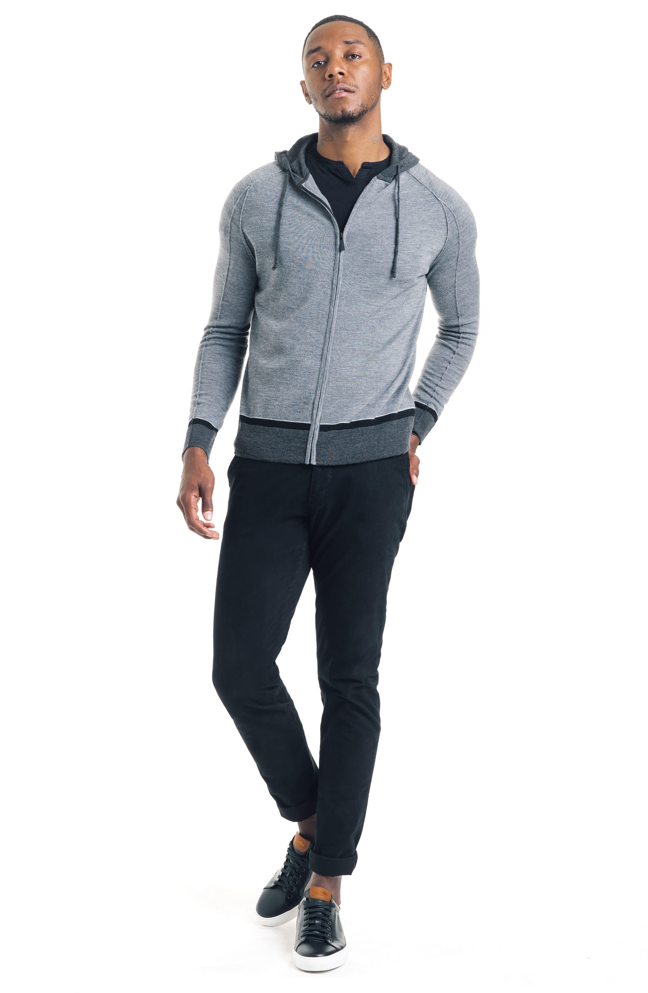 GOOD MAN BRAND, Modern Slim Fit Merino Wool Hoodie, Alternate thumbnail 5, color, 022