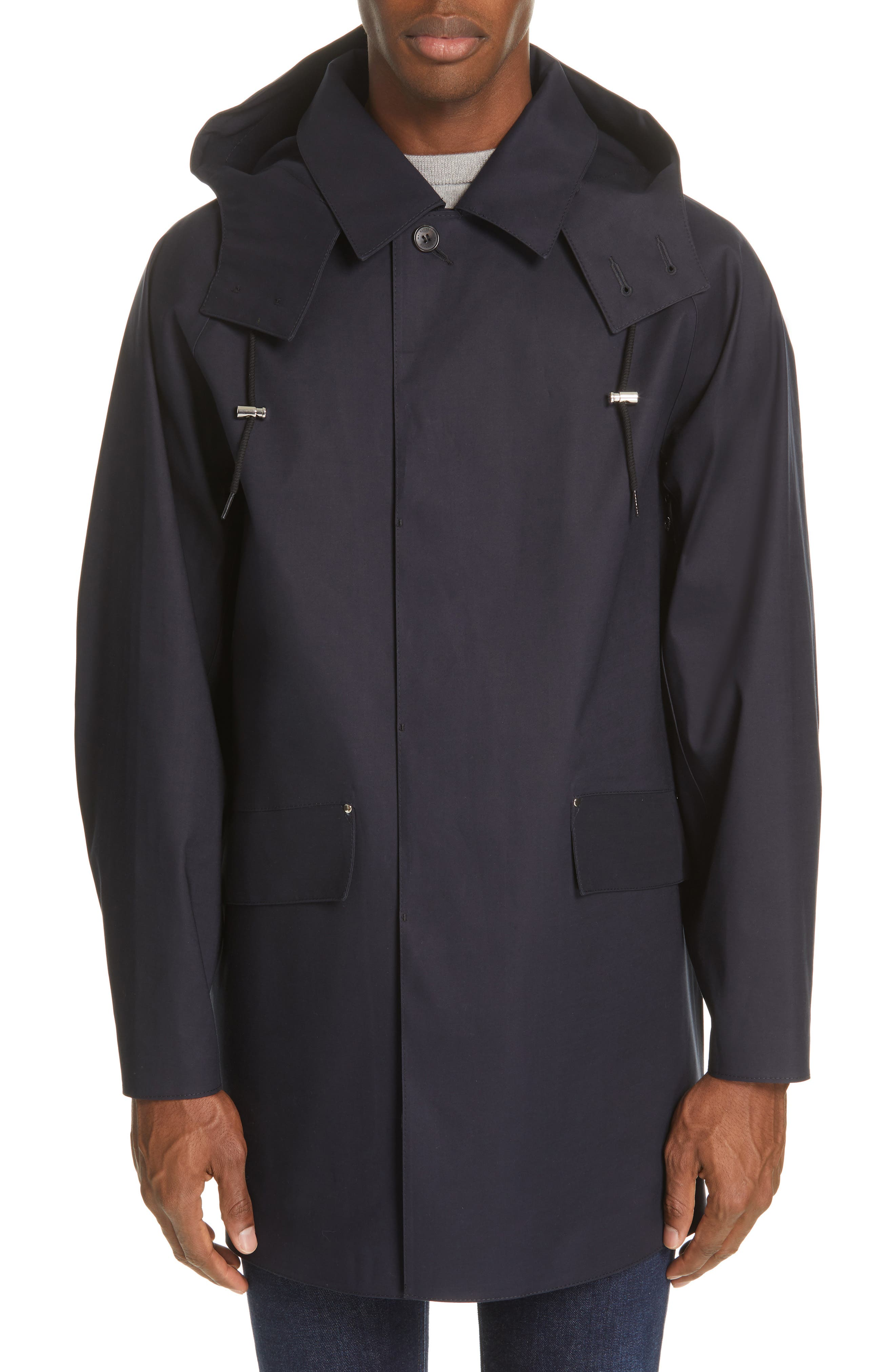 MACKINTOSH, Waterproof Bonded Cotton Raincoat With Removable Hood, Alternate thumbnail 2, color, 410