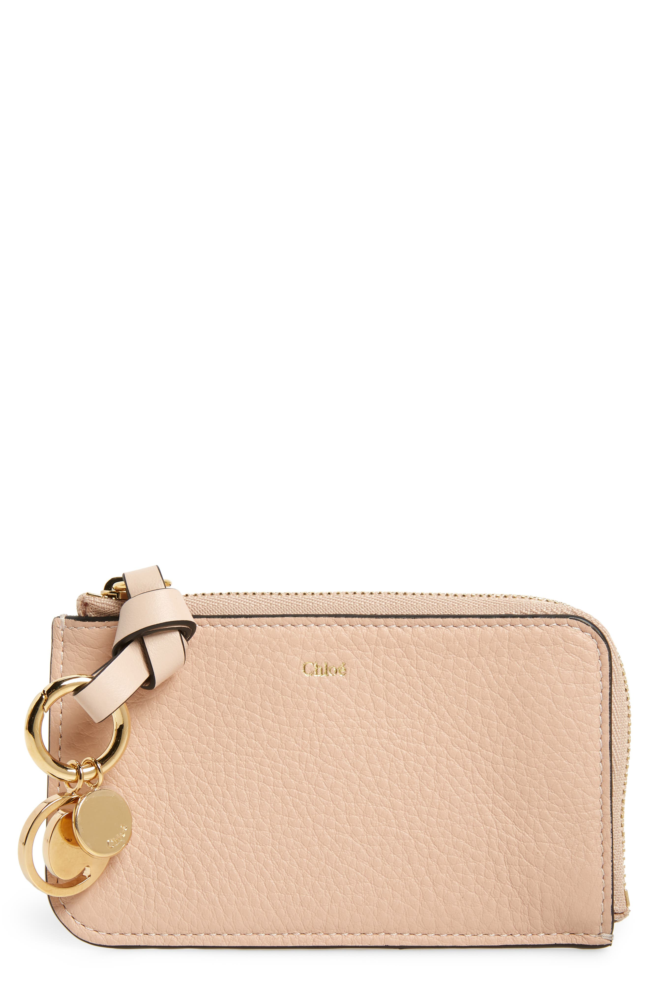 CHLOÉ, Alphabet Leather Card Holder, Main thumbnail 1, color, BLUSH NUDE