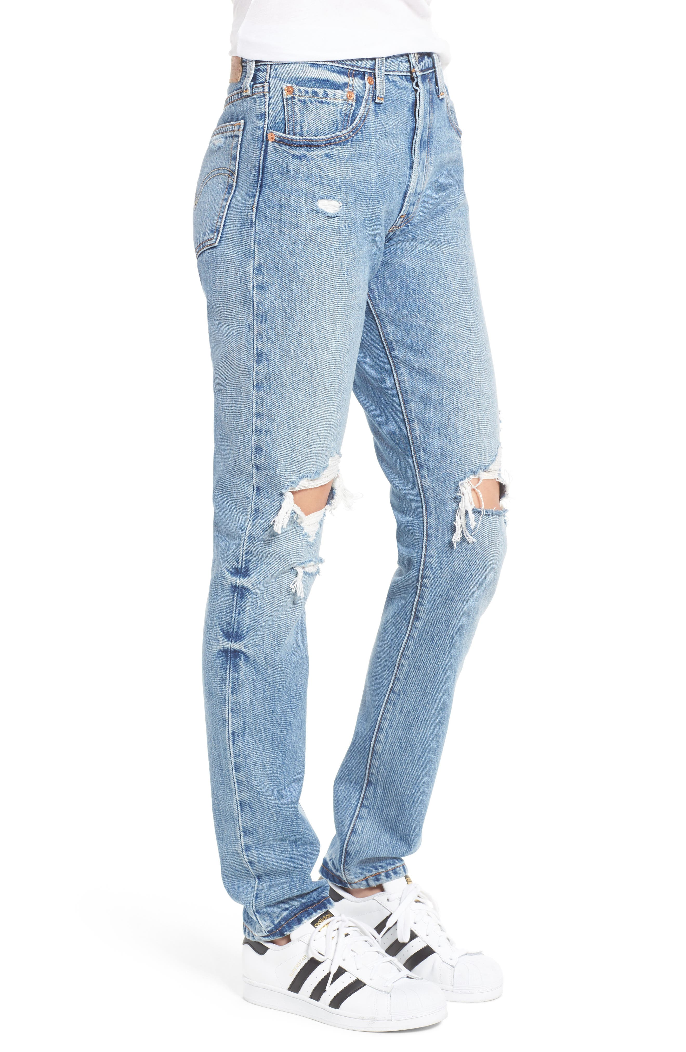 LEVI'S<SUP>®</SUP>, Levis<sup>®</sup> 501 Ripped Skinny Jeans, Alternate thumbnail 3, color, 400