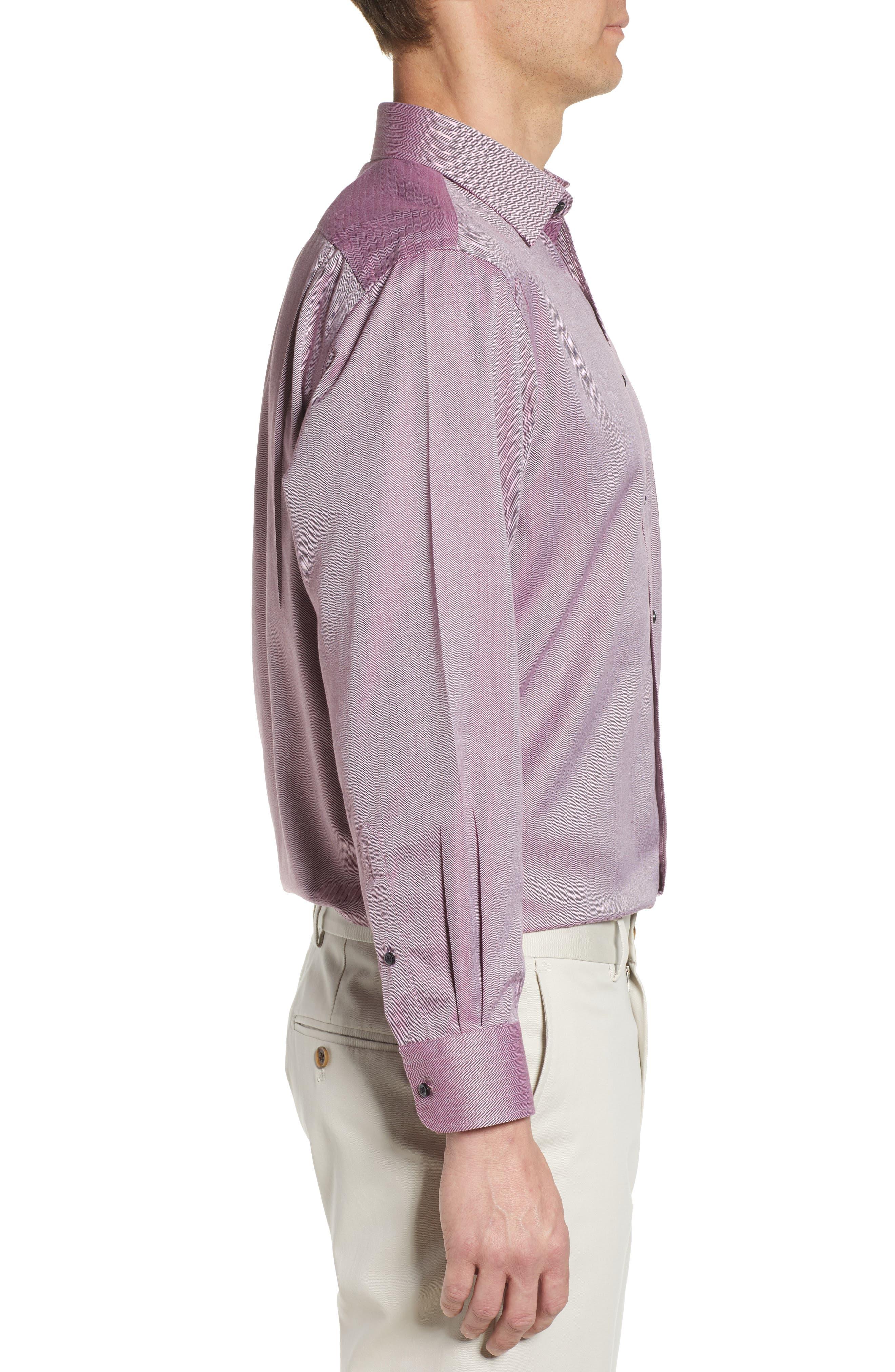 NORDSTROM MEN'S SHOP, Smartcare<sup>™</sup> Traditional Fit Herringbone Dress Shirt, Alternate thumbnail 4, color, BURGUNDY ROYALE