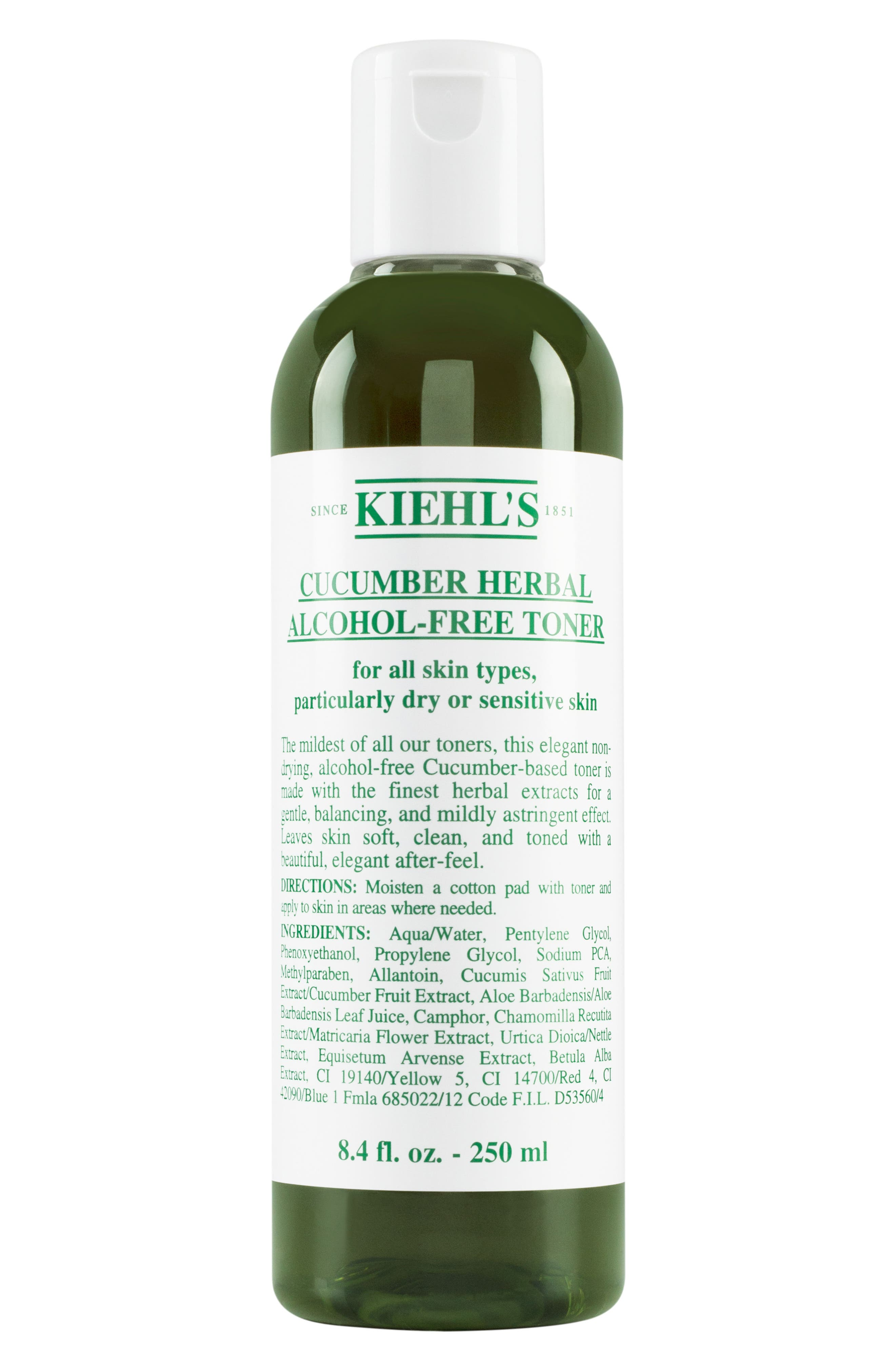 KIEHL'S SINCE 1851, Cucumber Herbal Alcohol-Free Toner, Main thumbnail 1, color, NO COLOR