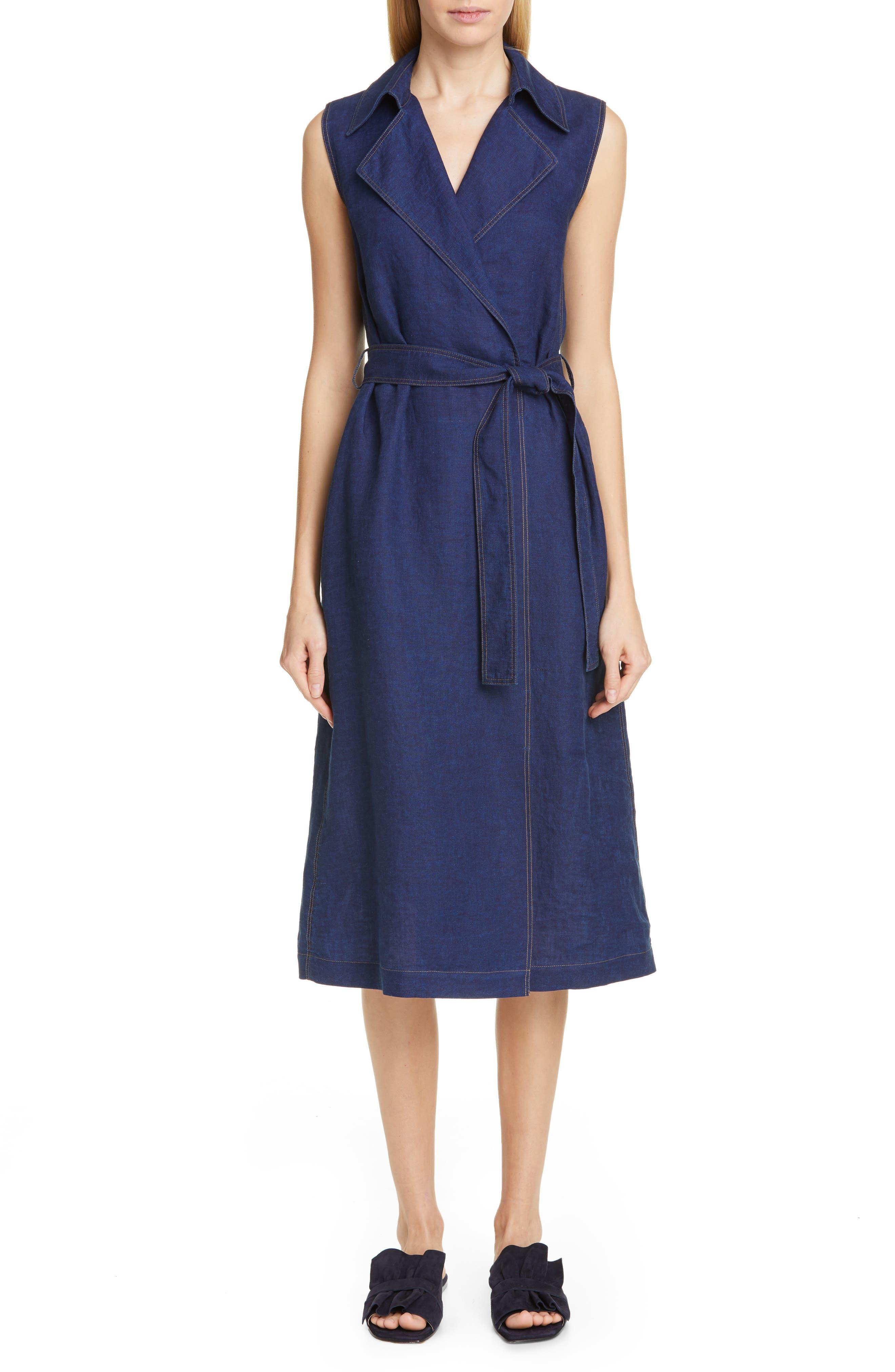 Lafayette 148 New York Florence Belted A-Line Linen Wrap Dress, Blue