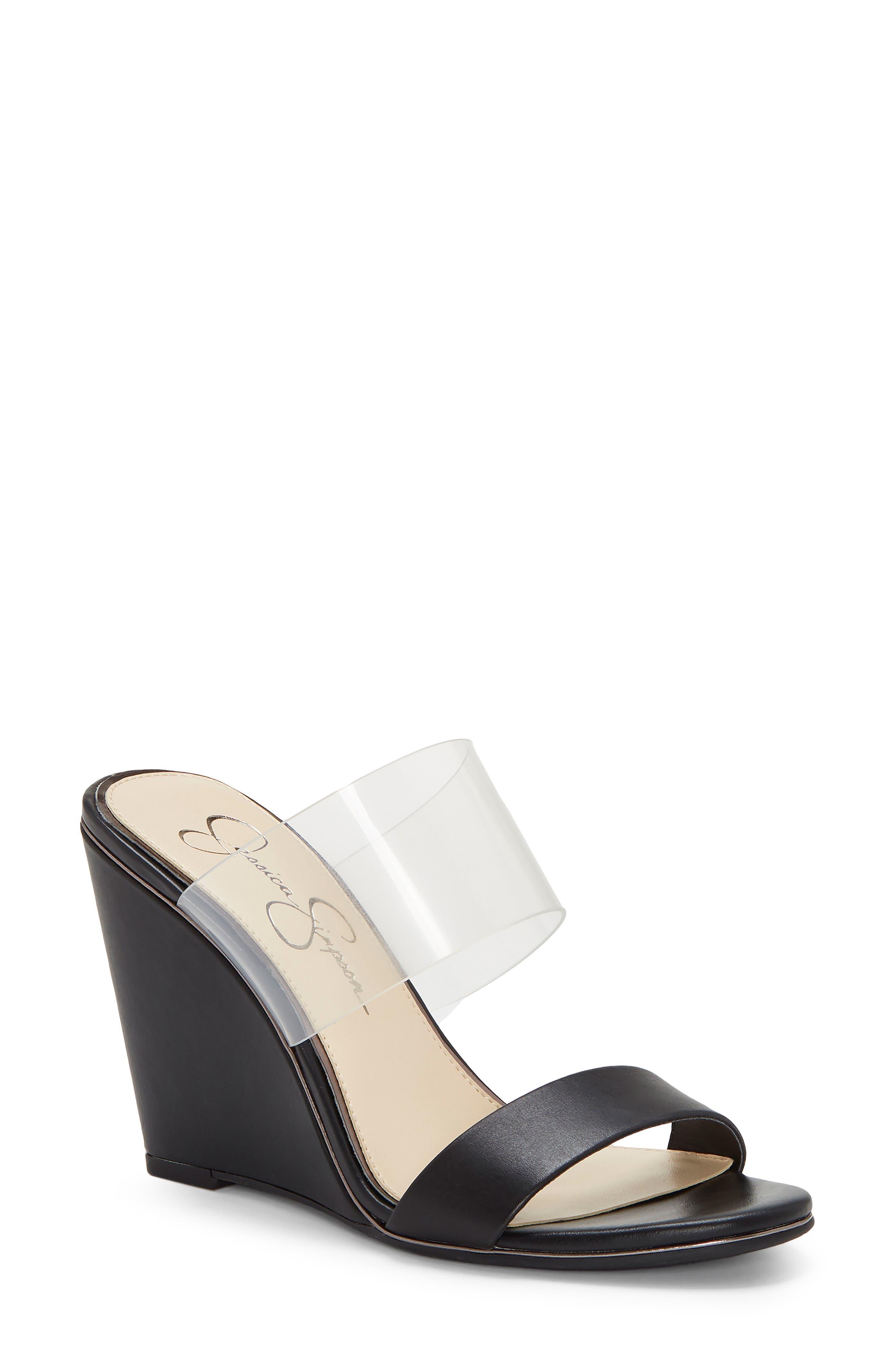Jessica Simpson Winsty Wedge Slide Sandal- Black