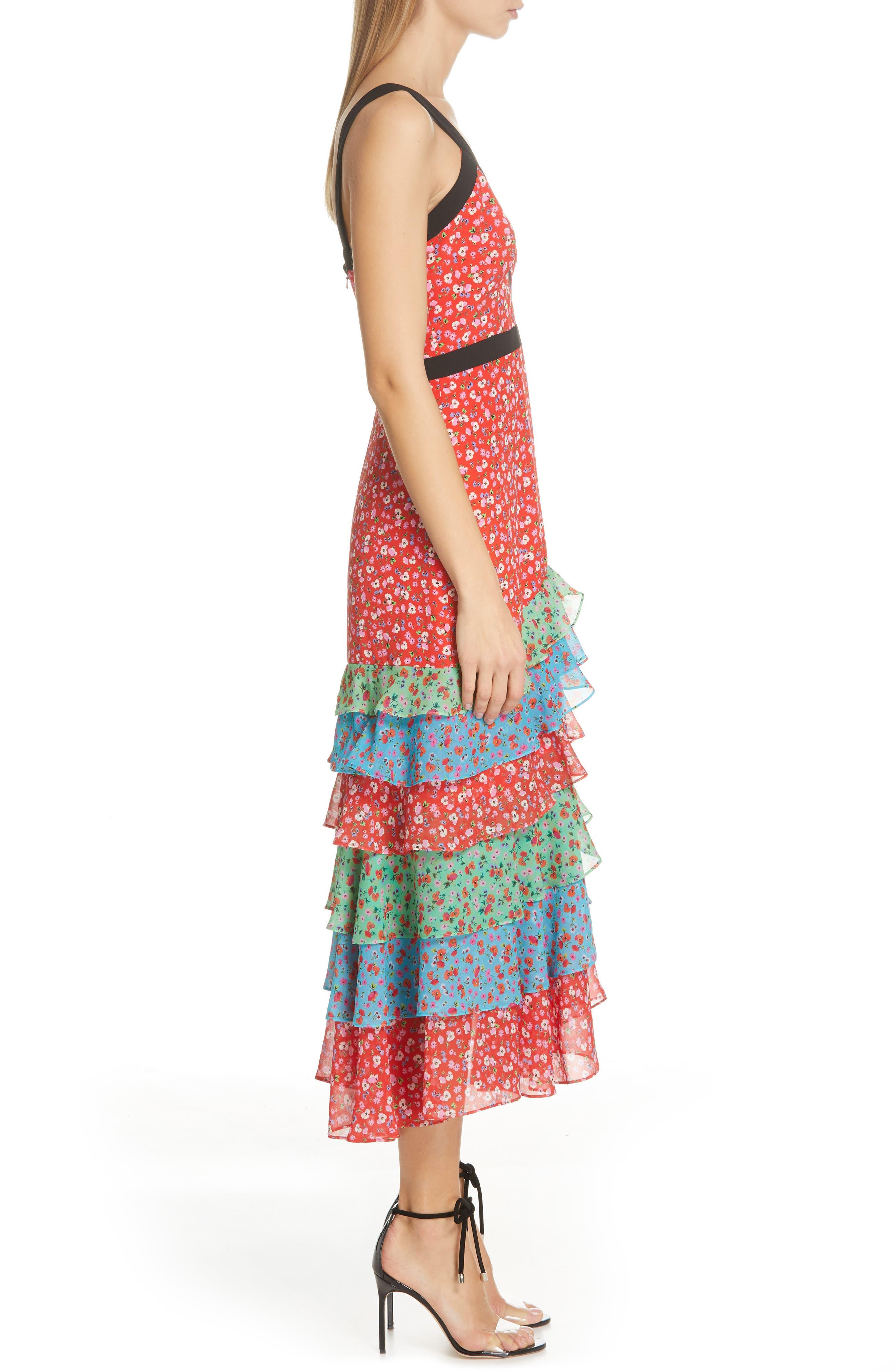 SALONI, Lana Tiered Hem Silk Midi Dress, Alternate thumbnail 3, color, ANENOME