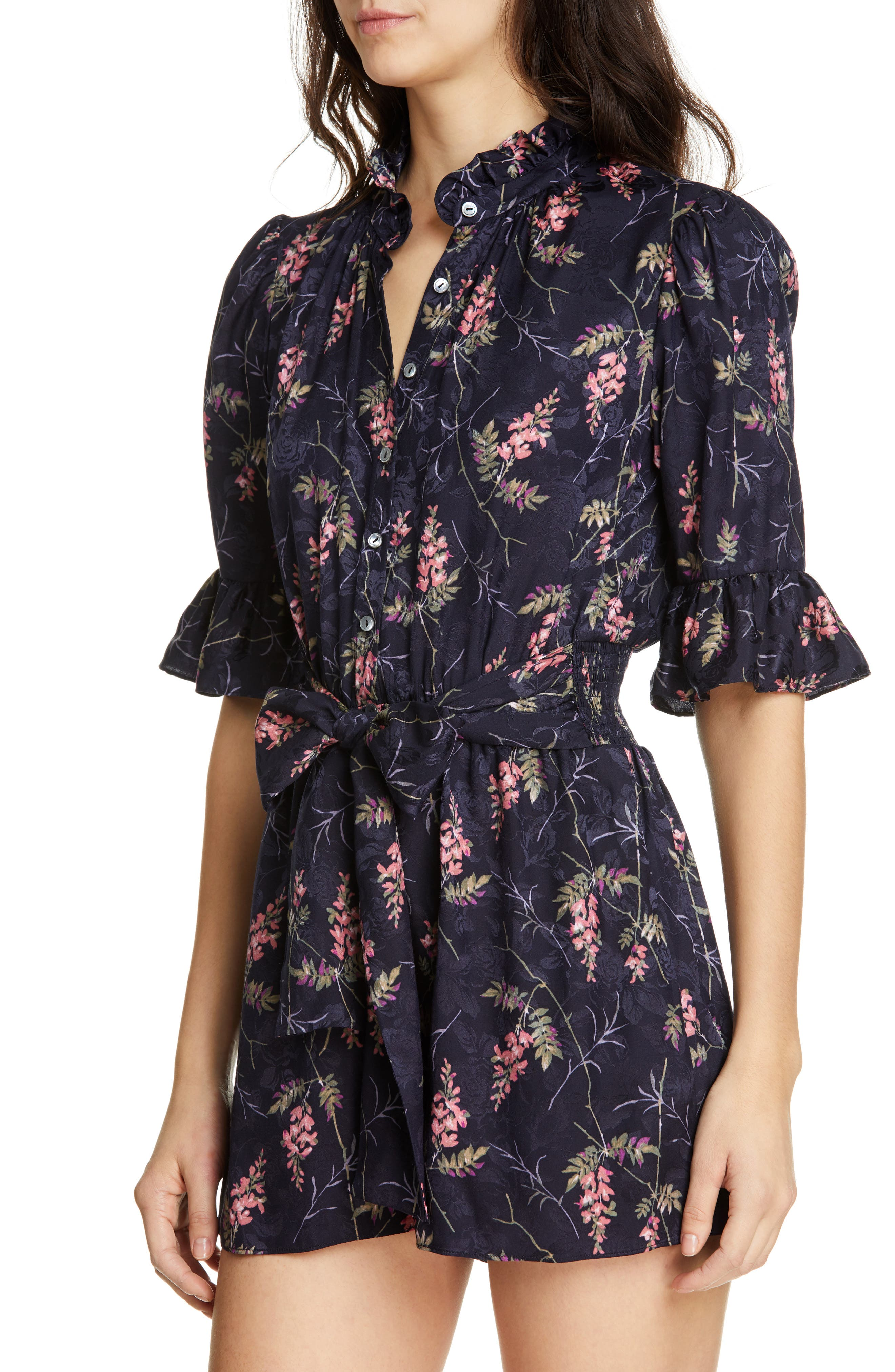 REBECCA TAYLOR, Ivie Floral Silk Blend Romper, Alternate thumbnail 5, color, NAVY COMBO