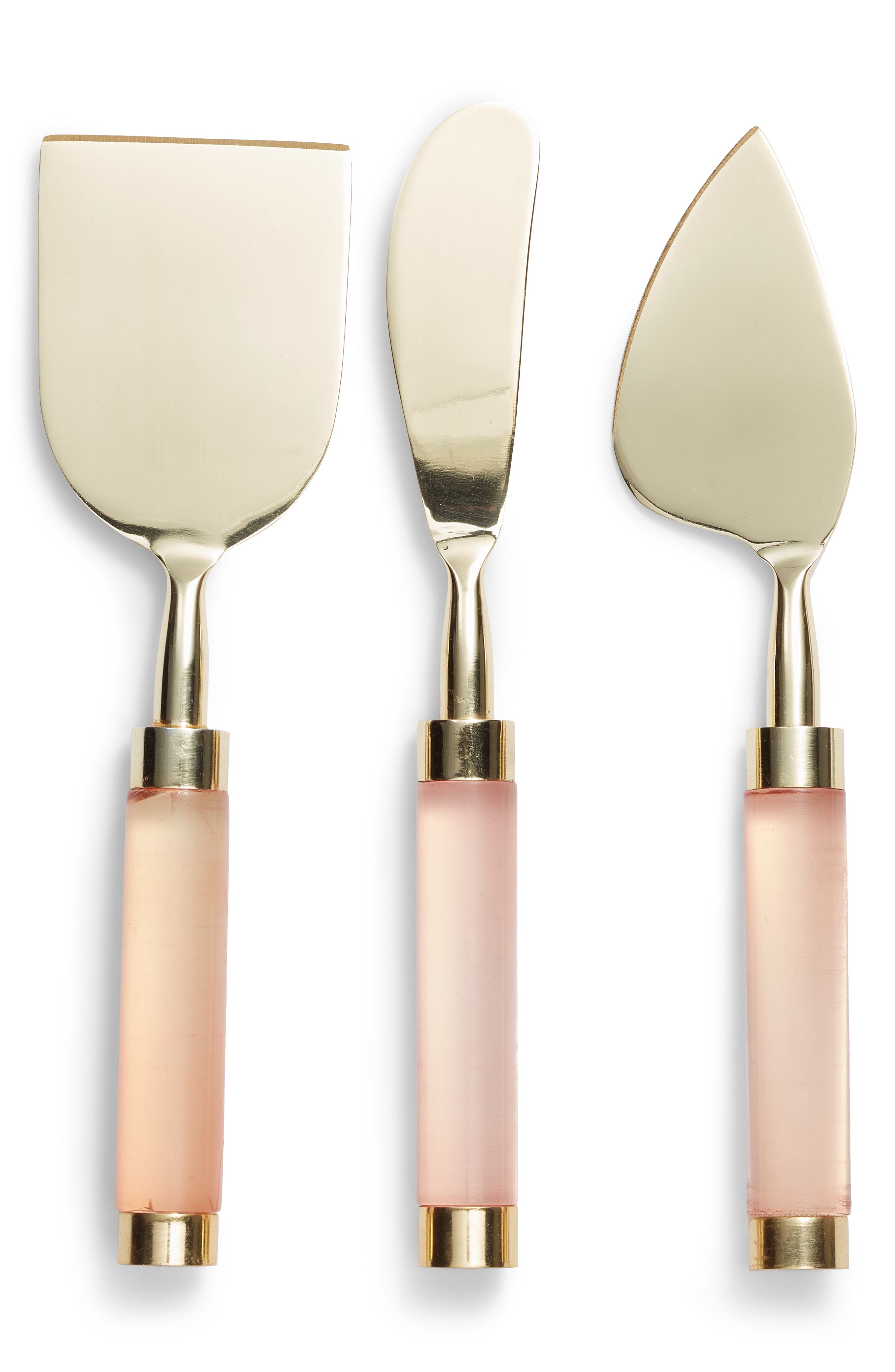 NORDSTROM AT HOME, Set of 3 Lucite<sup>®</sup> Handle Cheese Knives, Main thumbnail 1, color, BRUSHED GOLD/ PINK