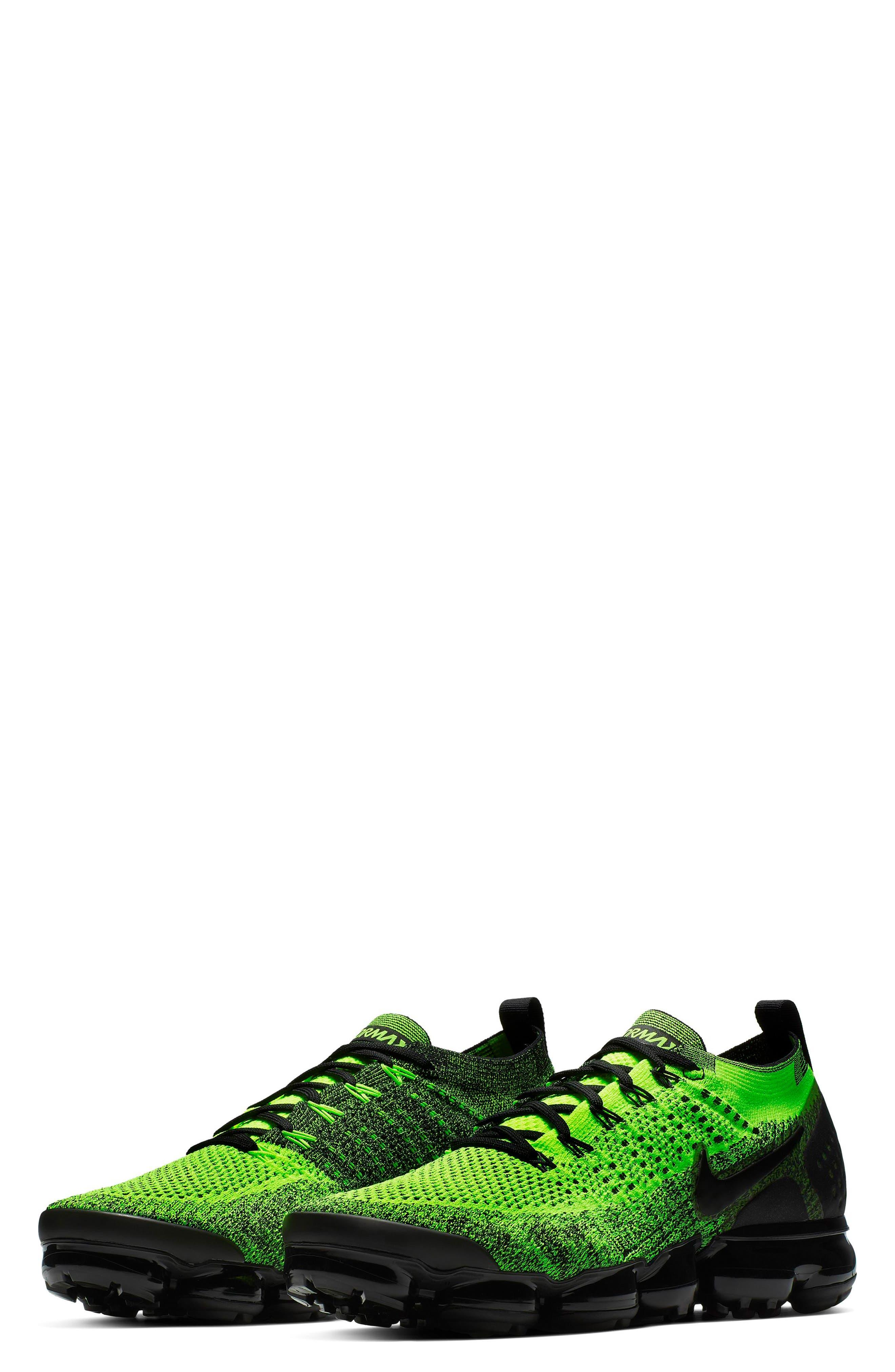 NIKE, Air VaporMax Flyknit 2 Running Shoe, Main thumbnail 1, color, VOLT/ BLACK/ VOLT