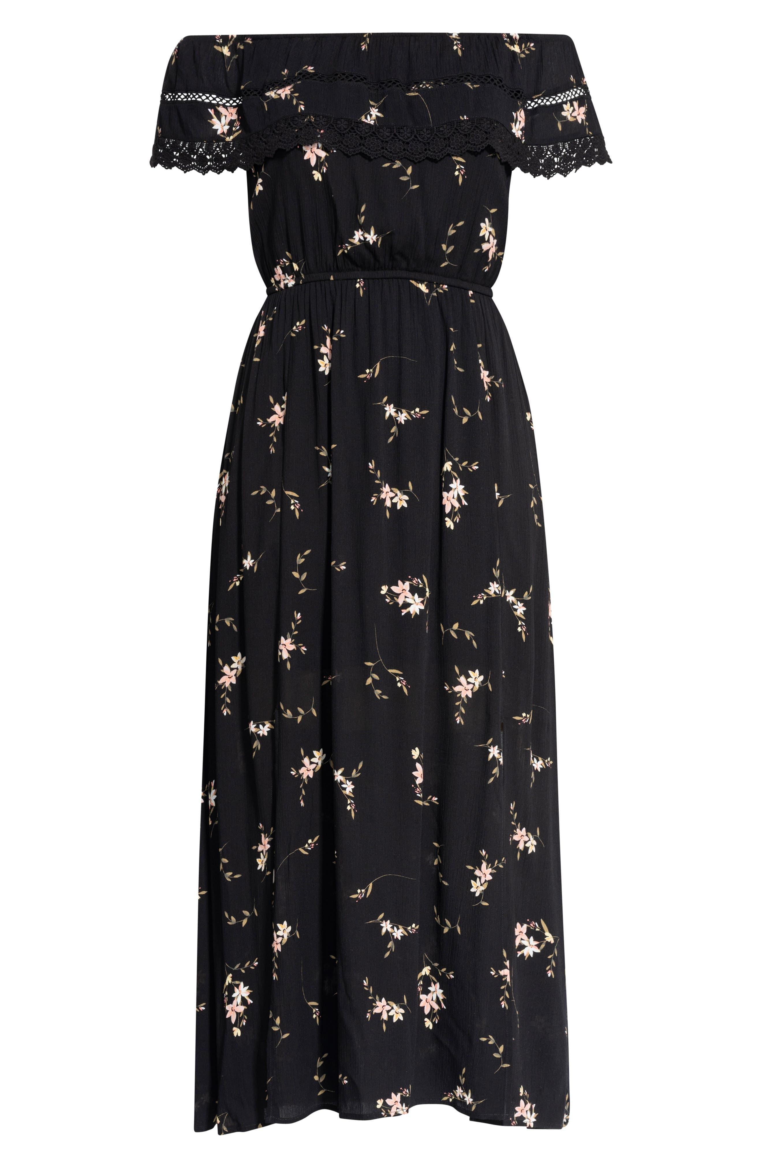 CITY CHIC, Off the Shoulder Floral Maxi Dress, Alternate thumbnail 3, color, AERIAL FLORAL