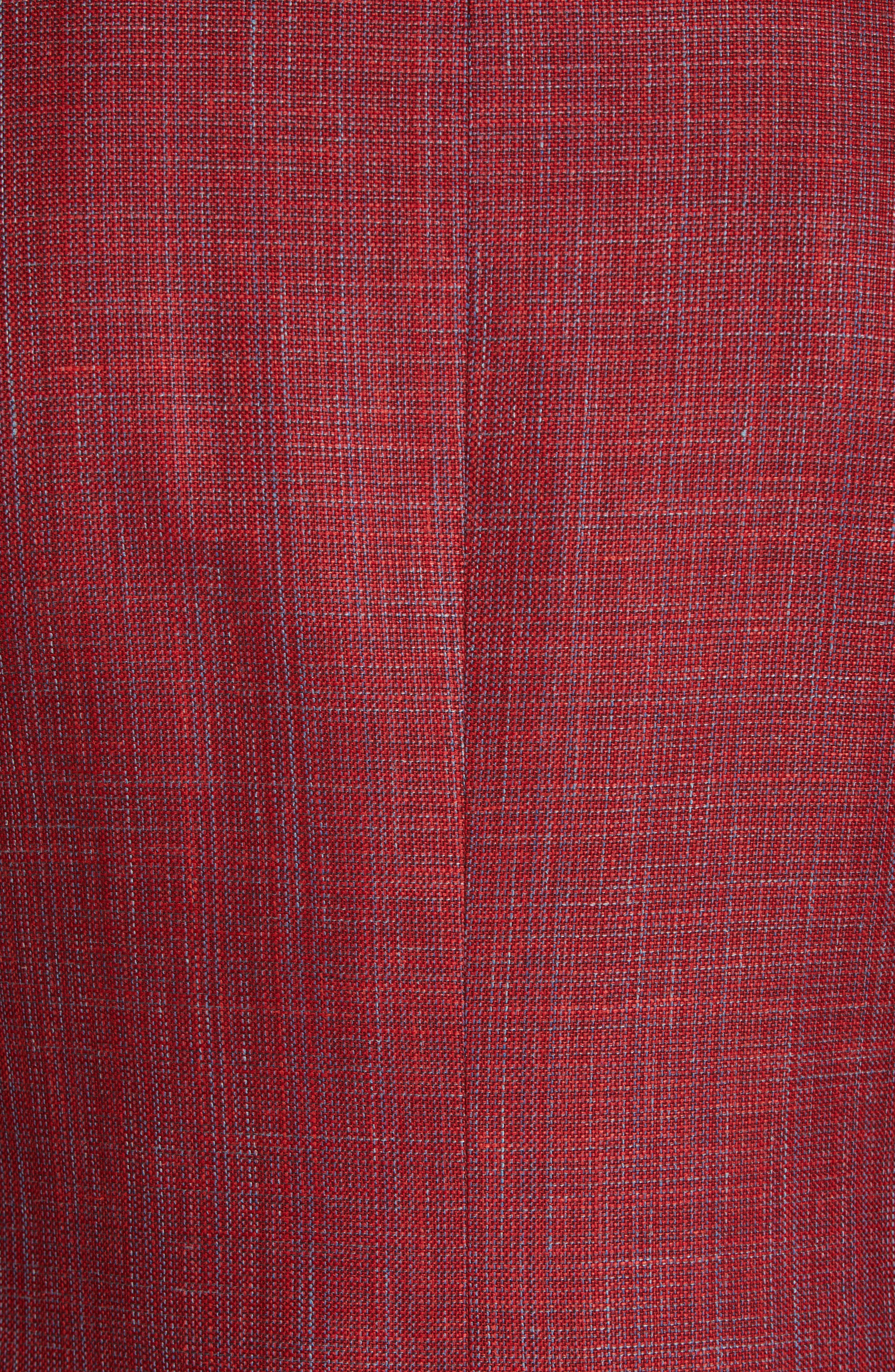 CANALI, Siena Classic Fit Wool, Silk & Linen Blend Sport Coat, Alternate thumbnail 6, color, RED