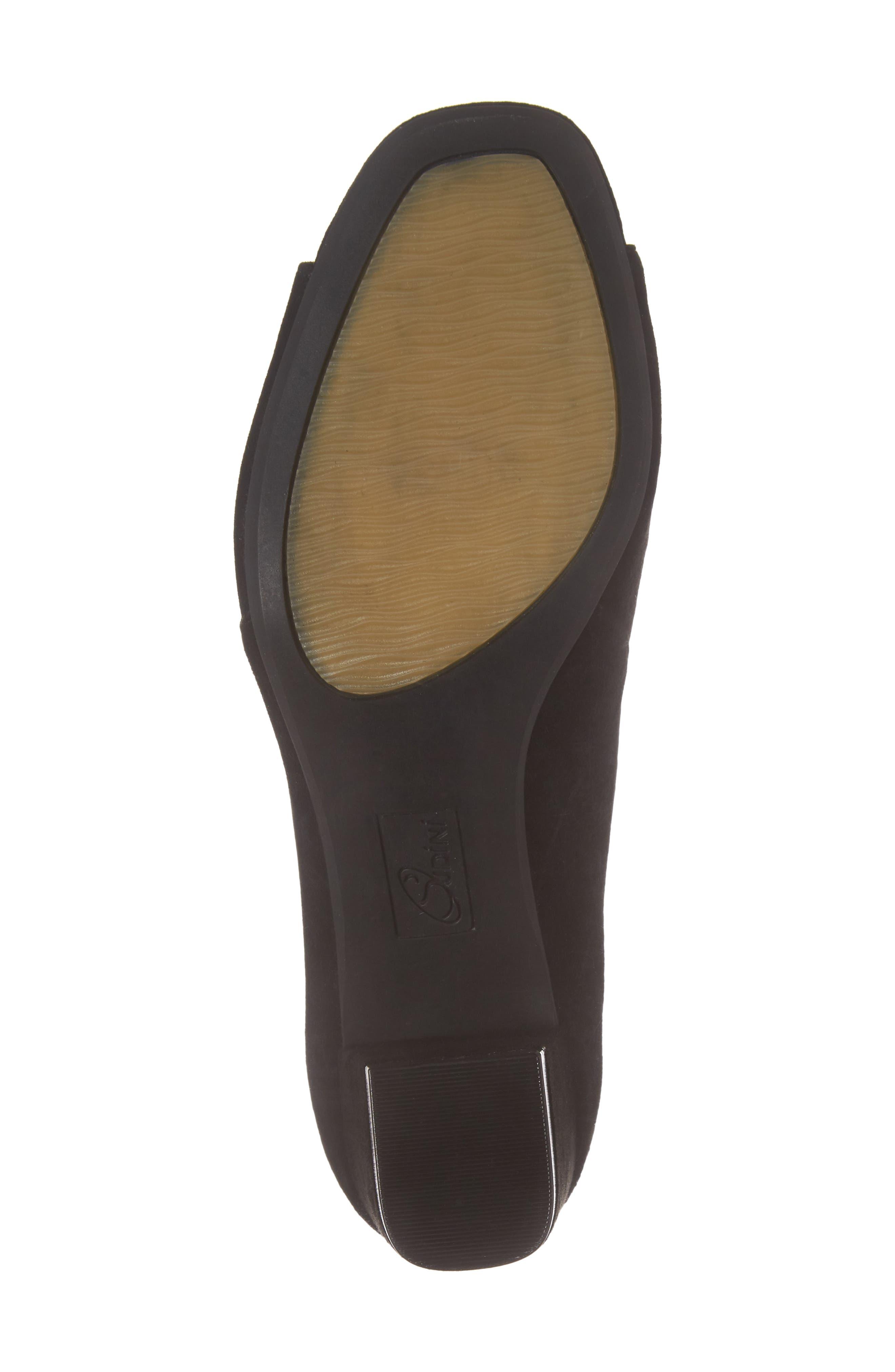 SUDINI, Nicola Laser Cut Open Toe Pump, Alternate thumbnail 6, color, BLACK SUEDE