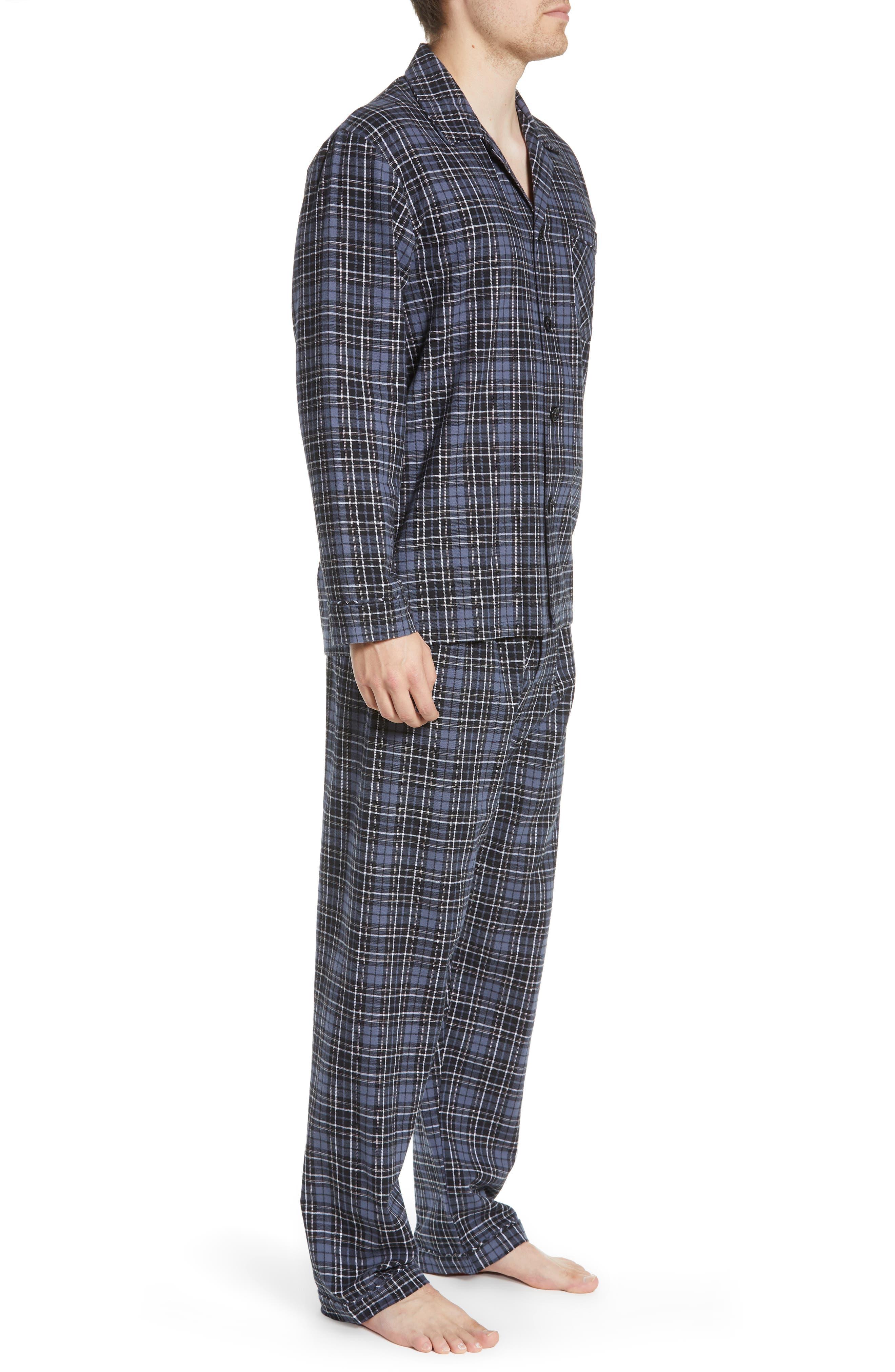 MAJESTIC INTERNATIONAL, True Match Flannel Pajamas, Alternate thumbnail 3, color, 001