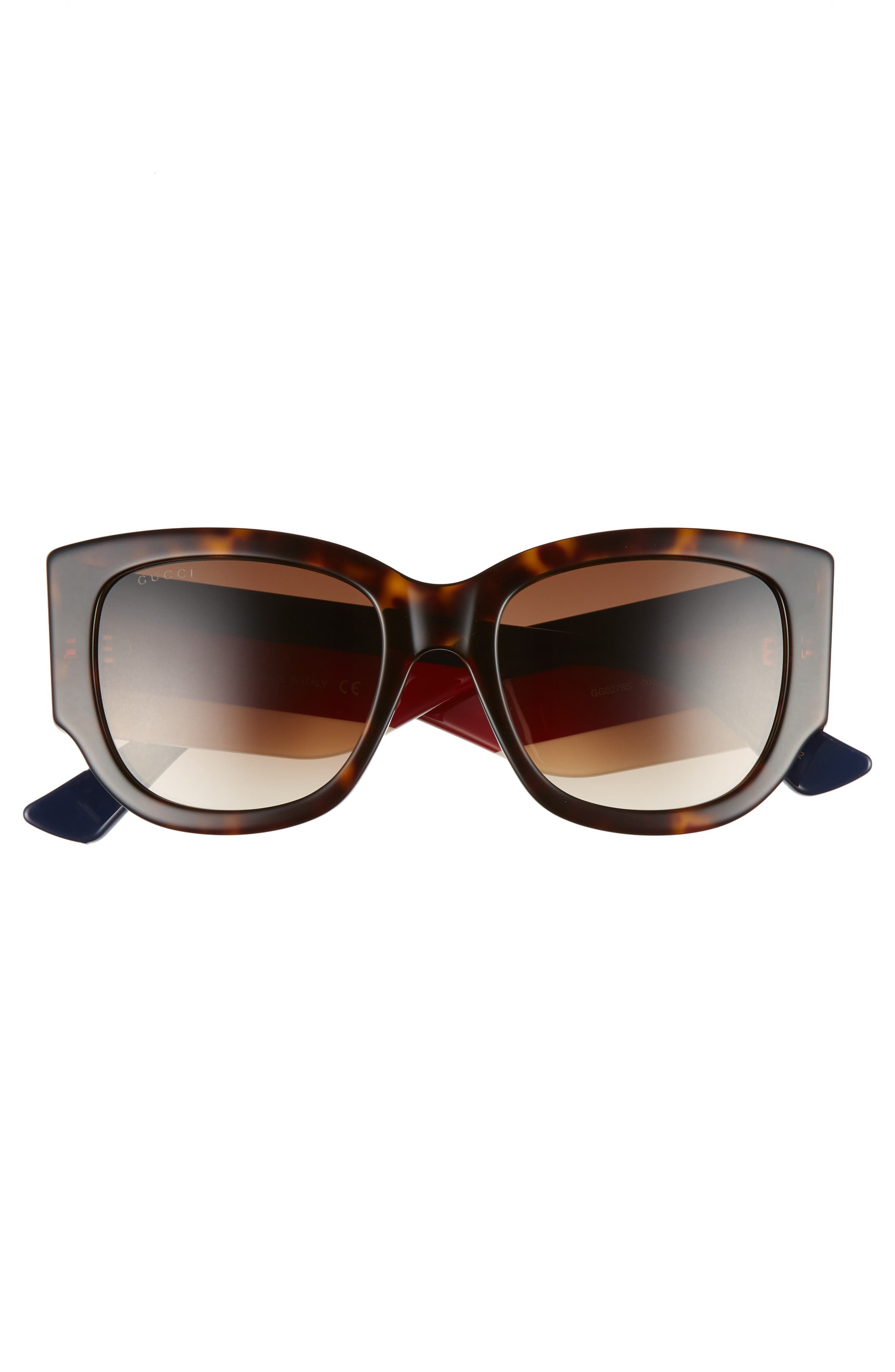 GUCCI, 53mm Cat Eye Sunglasses, Alternate thumbnail 3, color, HAVANA