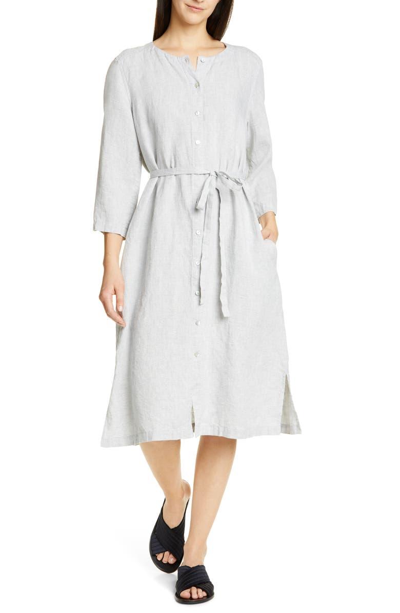 Eileen Fisher Dresses COLLARLESS ORGANIC LINEN SHIRTDRESS