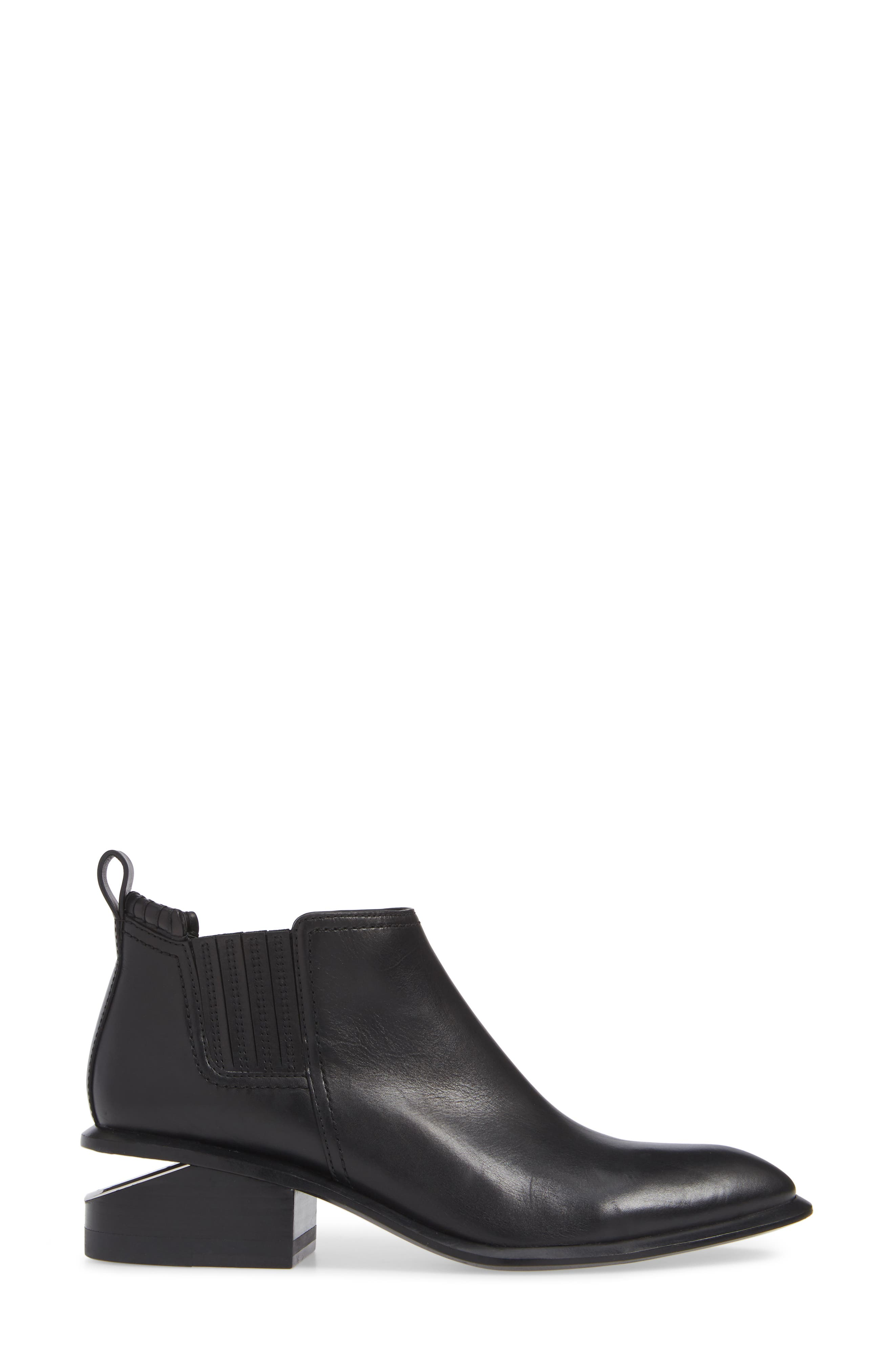 ALEXANDER WANG, Kori Boot, Alternate thumbnail 3, color, BLACK/ SILVER