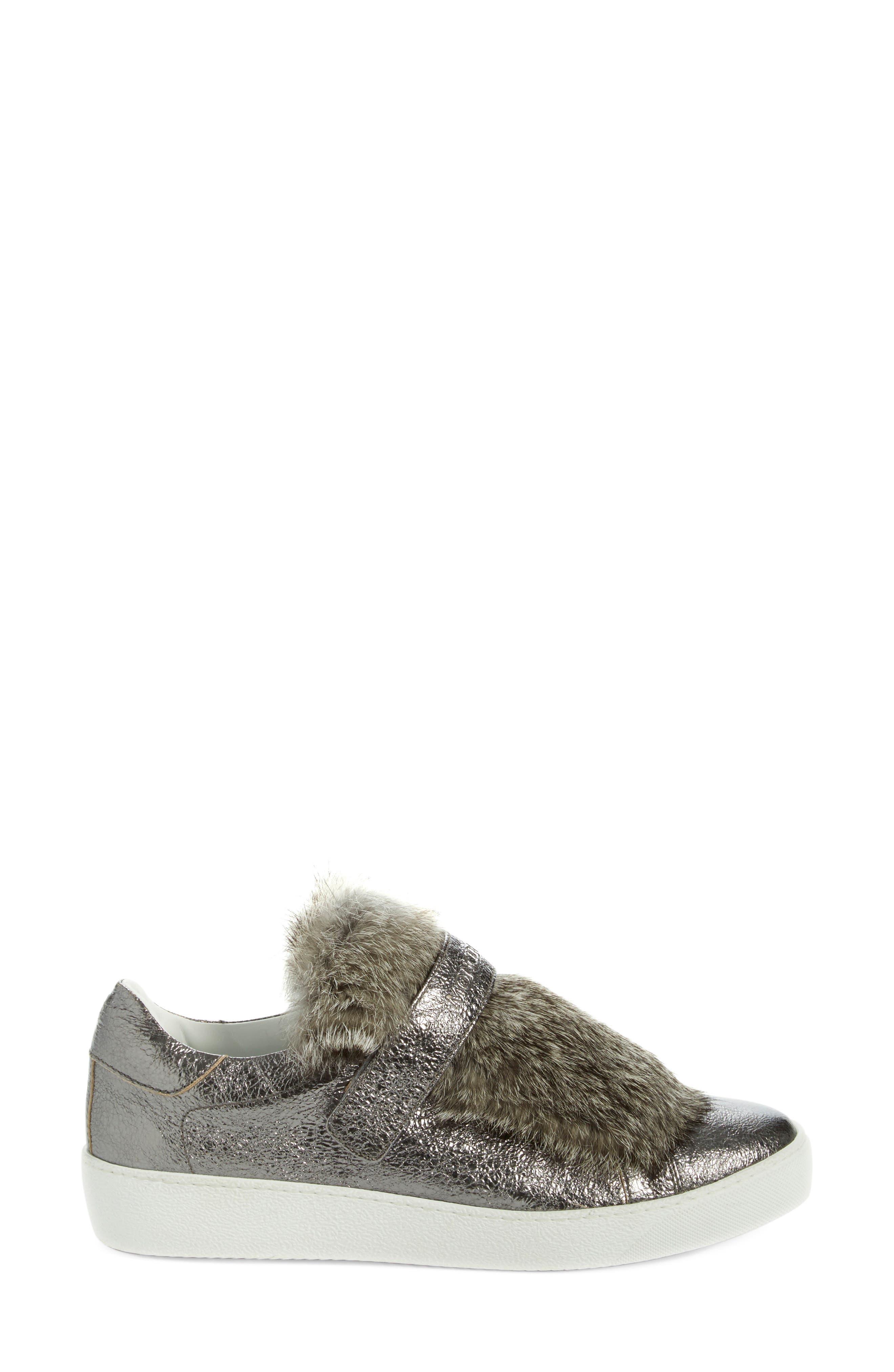 MONCLER, 'Lucie Scarpa' Genuine Rabbit Fur Trim Sneaker, Alternate thumbnail 4, color, 020