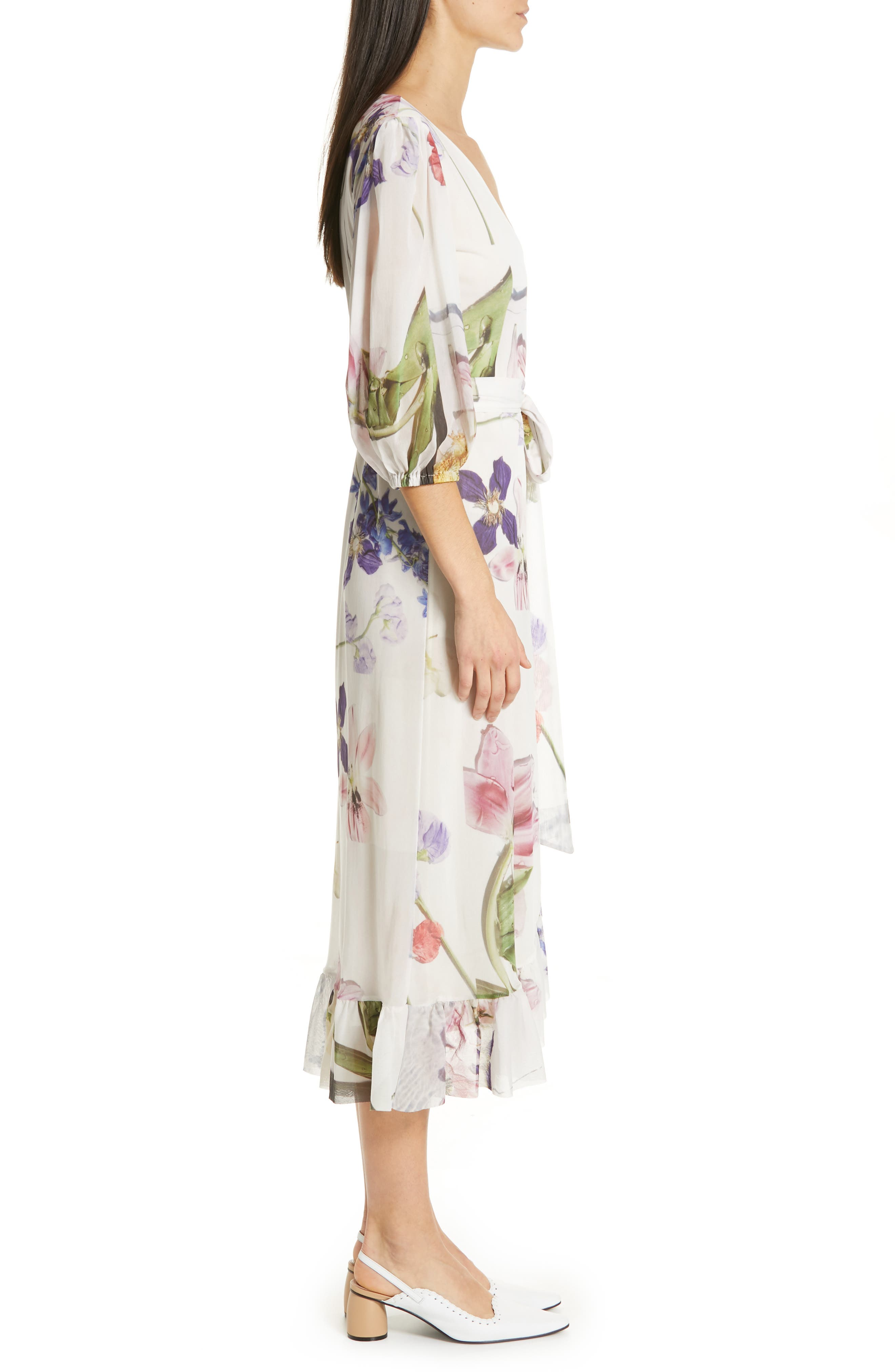 GANNI, Floral Print Mesh Dress, Alternate thumbnail 4, color, BRIGHT WHITE