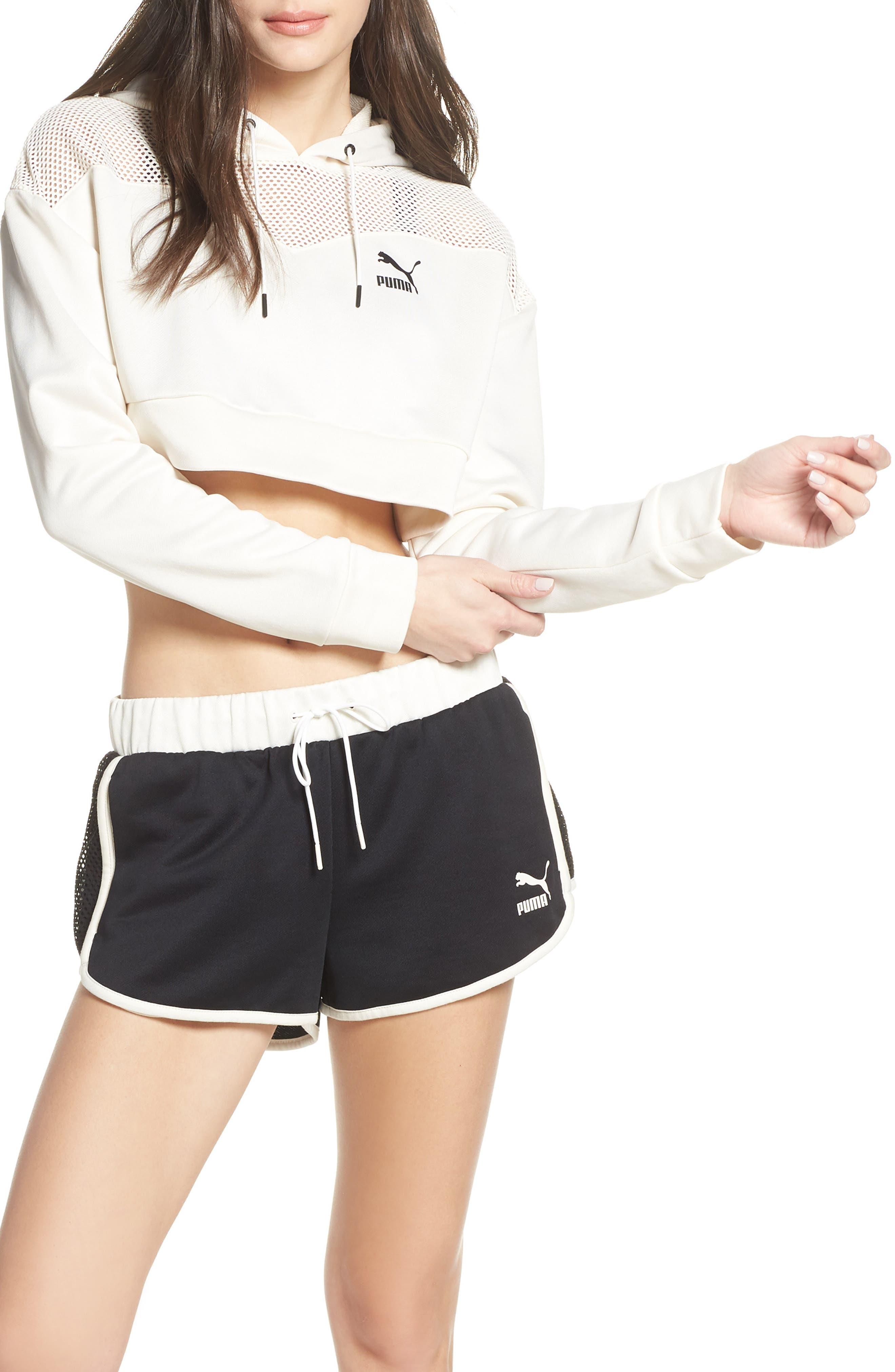 PUMA, Flourish Crop Hooded Sweatshirt, Main thumbnail 1, color, WHISPER WHITE-PUMA BLACK