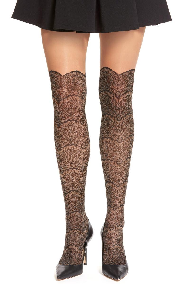 4d9ef4304038a VIA SPIGA 'Noir' Lace Faux Over the Knee Tights, Main, color,