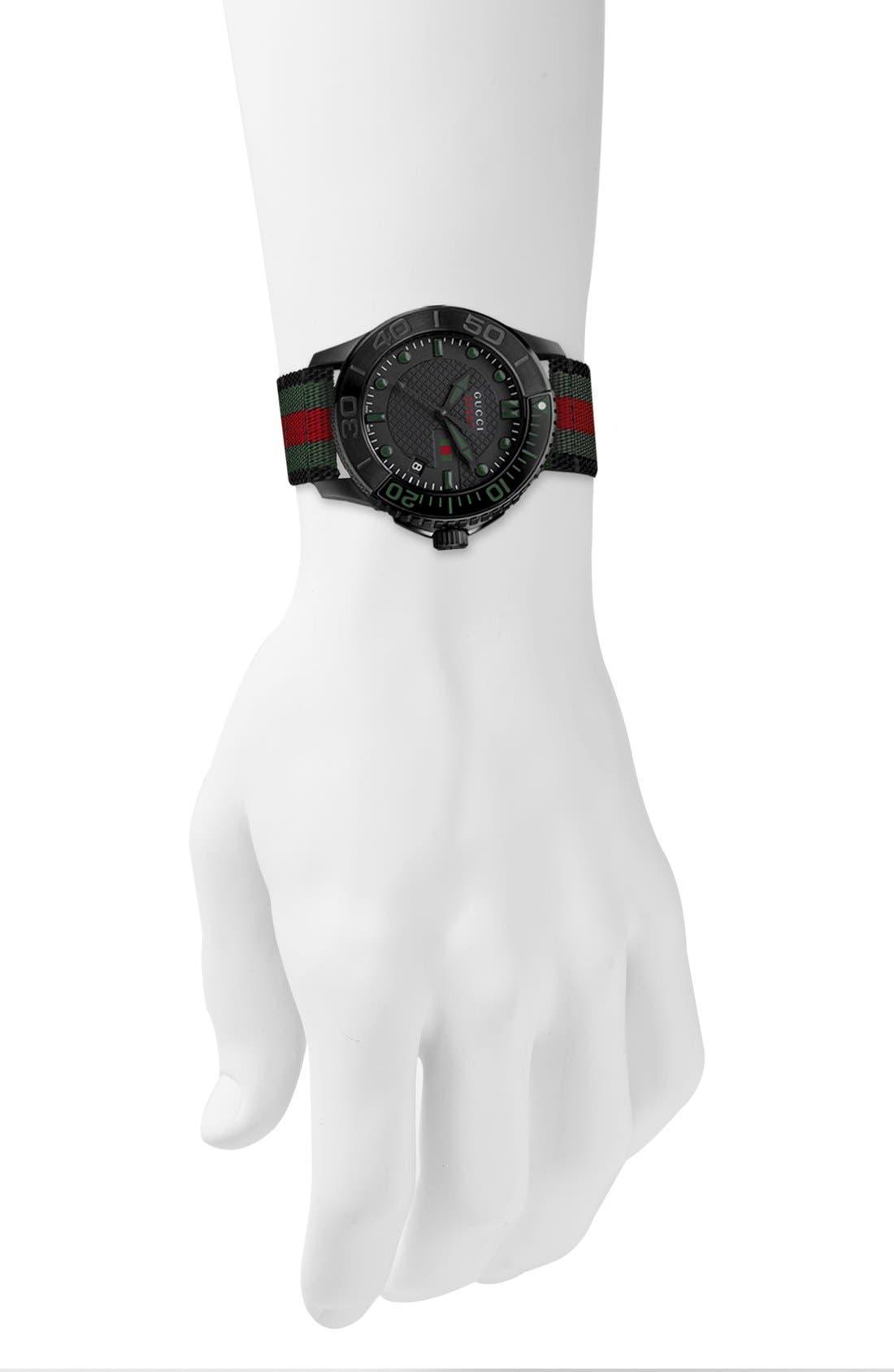 GUCCI, 'G Timeless' Nylon Strap Watch, 44mm, Alternate thumbnail 4, color, 001