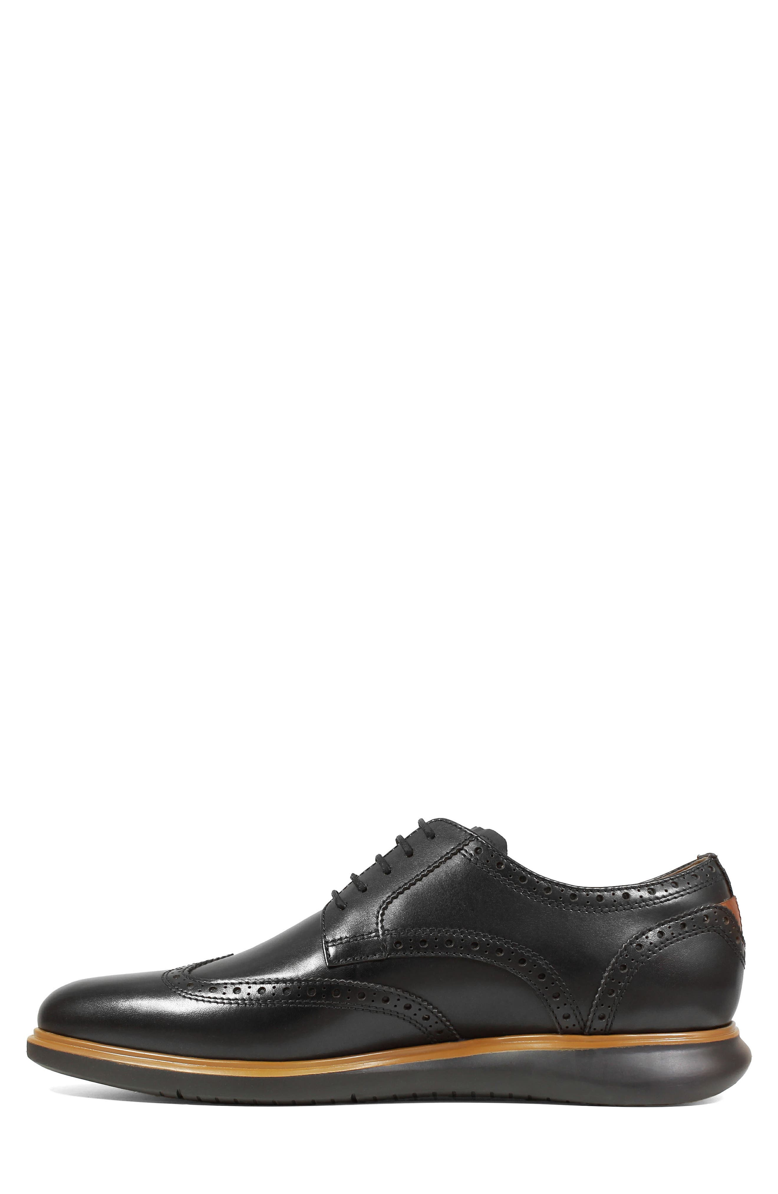 FLORSHEIM, Fuel Wingtip, Alternate thumbnail 8, color, BLACK LEATHER