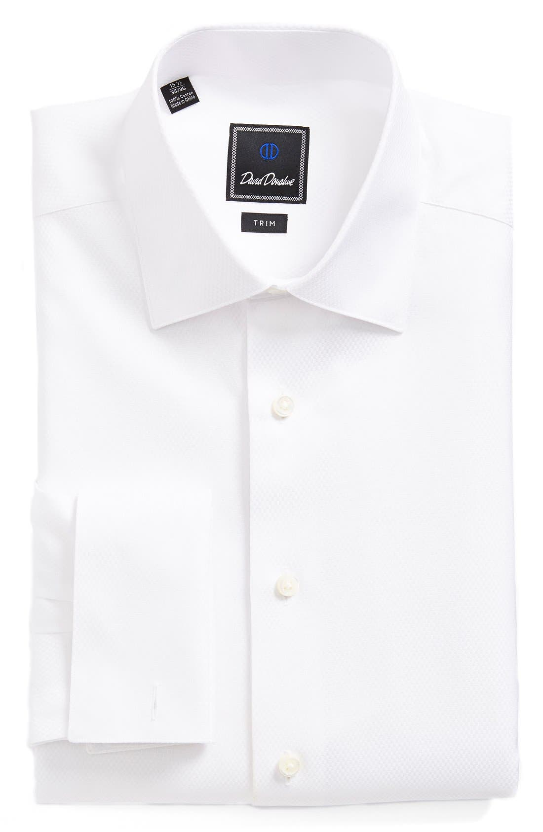 DAVID DONAHUE, Trim Fit Solid French Cuff Tuxedo Shirt, Alternate thumbnail 8, color, WHITE