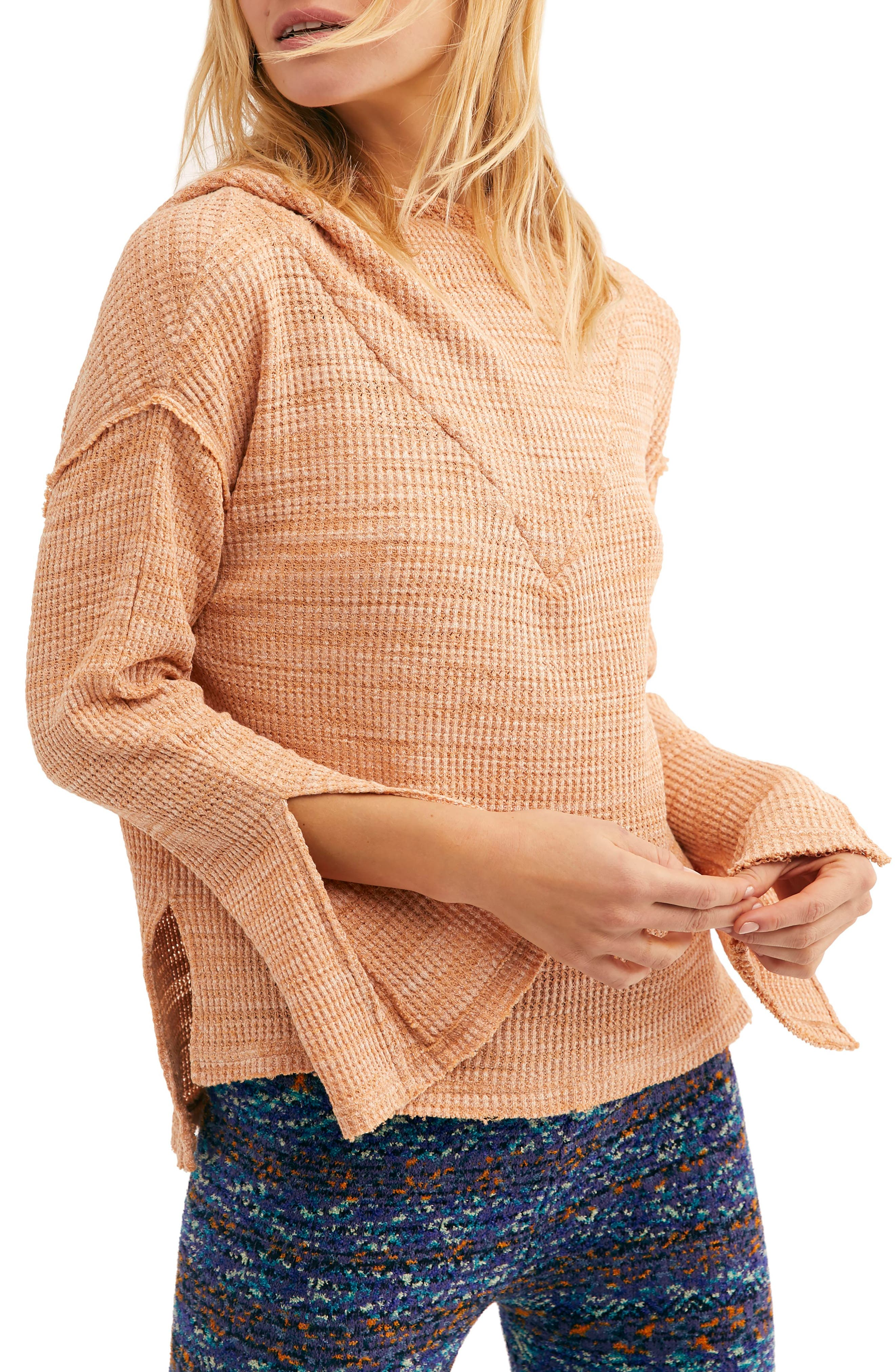FREE PEOPLE, Endless Summer by Free People Hooded Knit Top, Main thumbnail 1, color, ORANGE