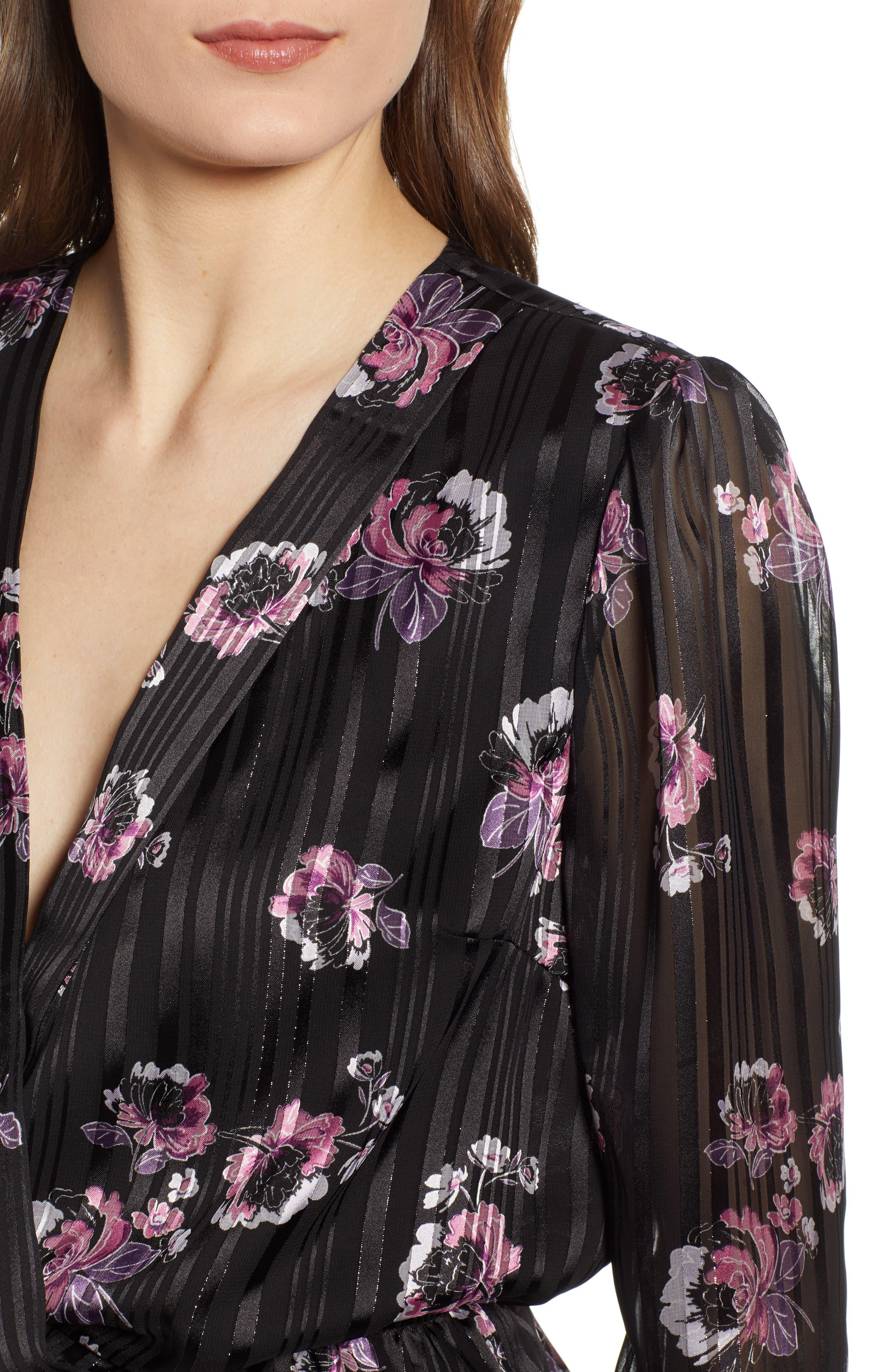 WAYF, Floral Print Peplum Top, Alternate thumbnail 4, color, BLACK FLORAL SHADOW STRIPE