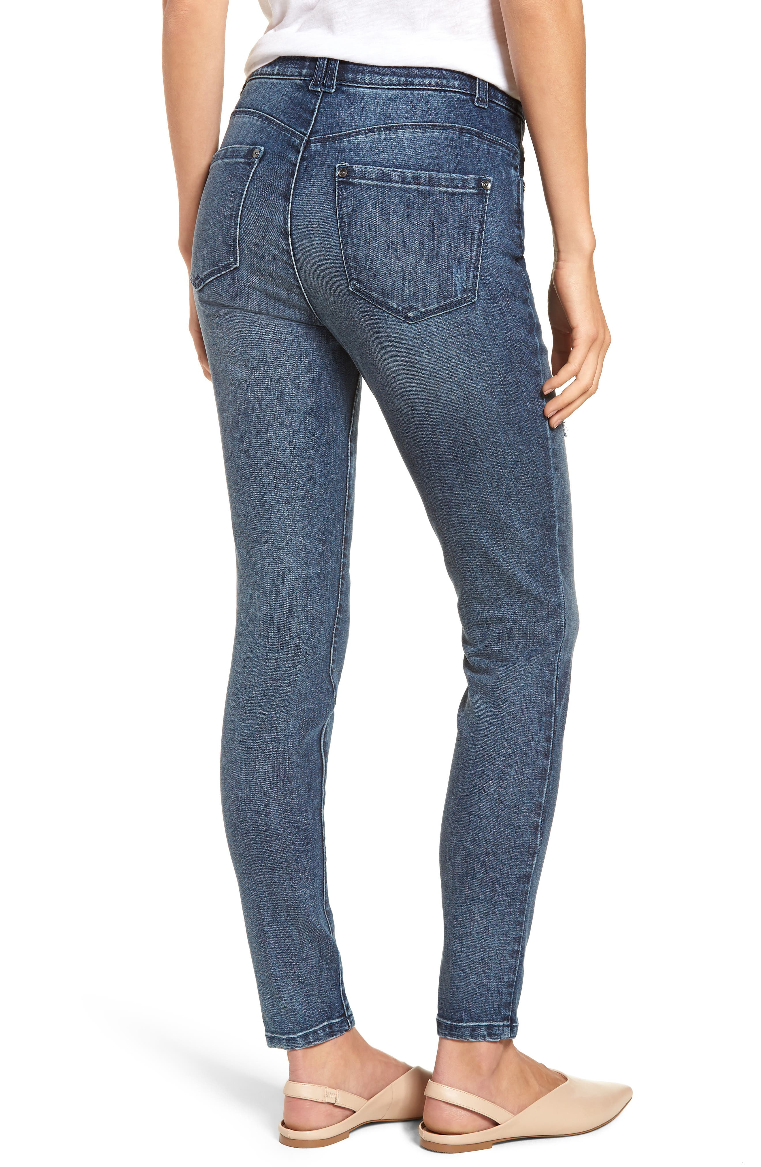 WIT & WISDOM, Ab-Solution High Waist Skinny Jeans, Alternate thumbnail 2, color, BLUE