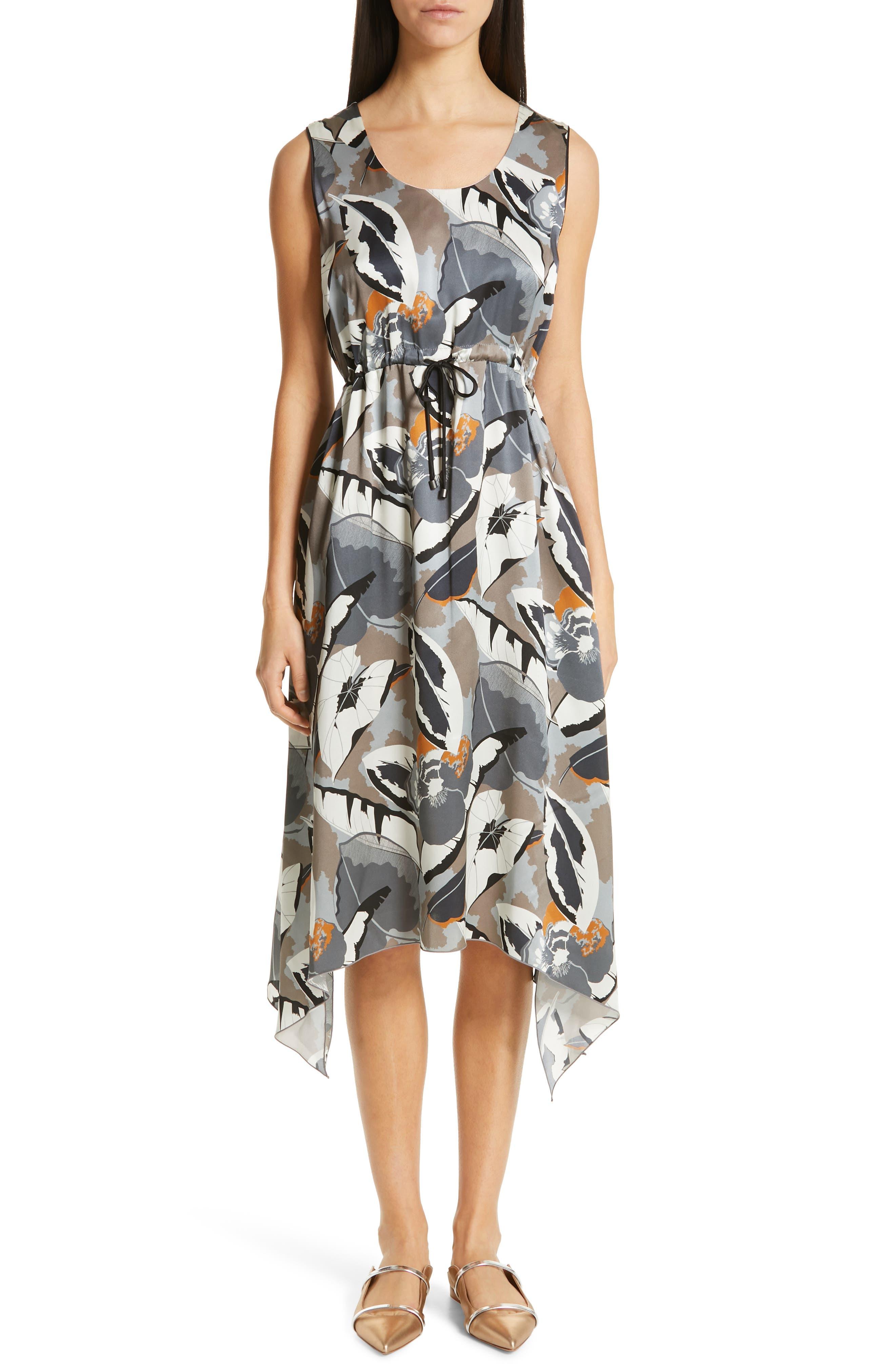 Fabiana Filippi Print Satin Midi Dress, US / 44 IT - Blue