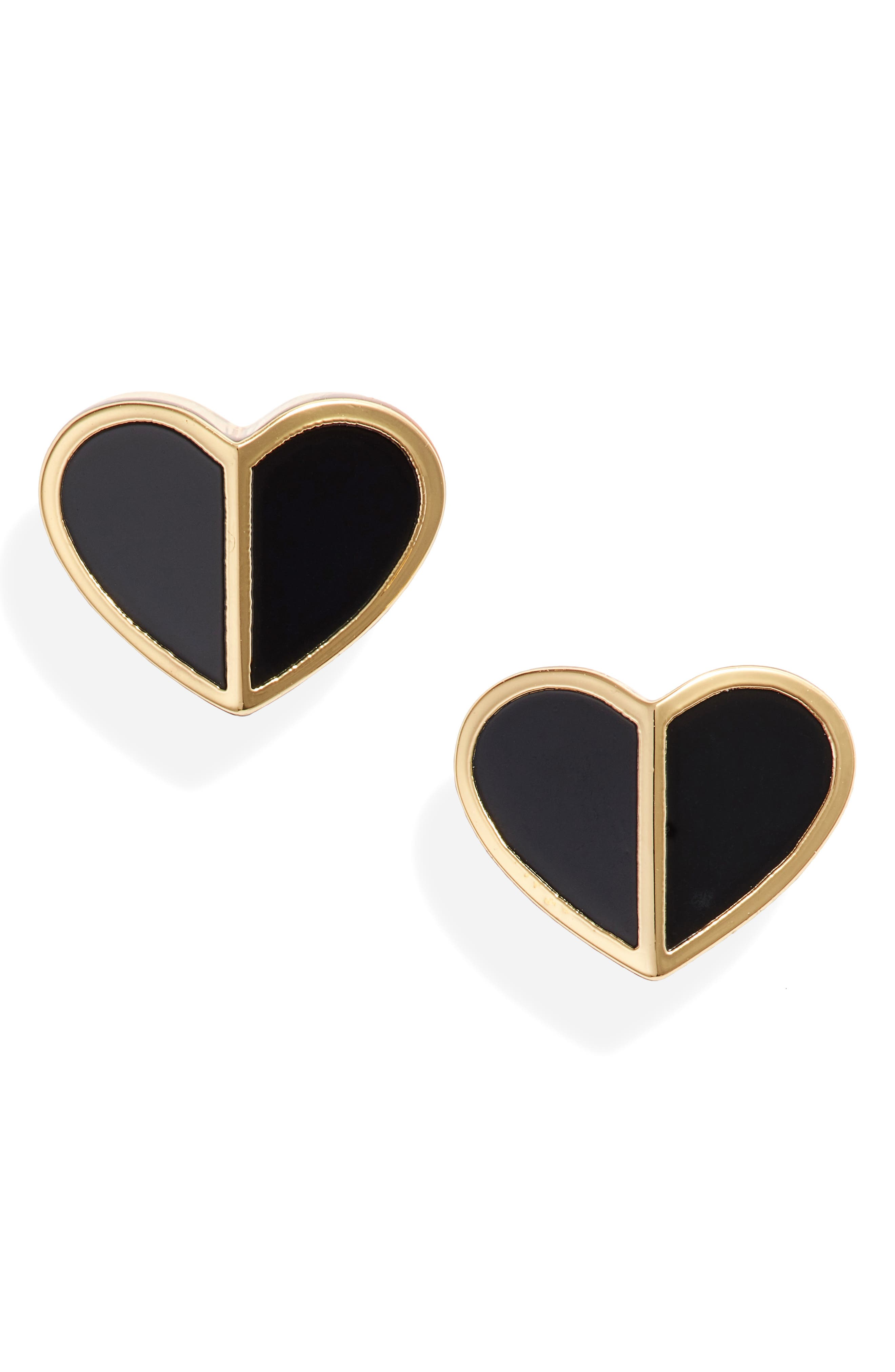KATE SPADE NEW YORK, heart stud earrings, Main thumbnail 1, color, BLACK