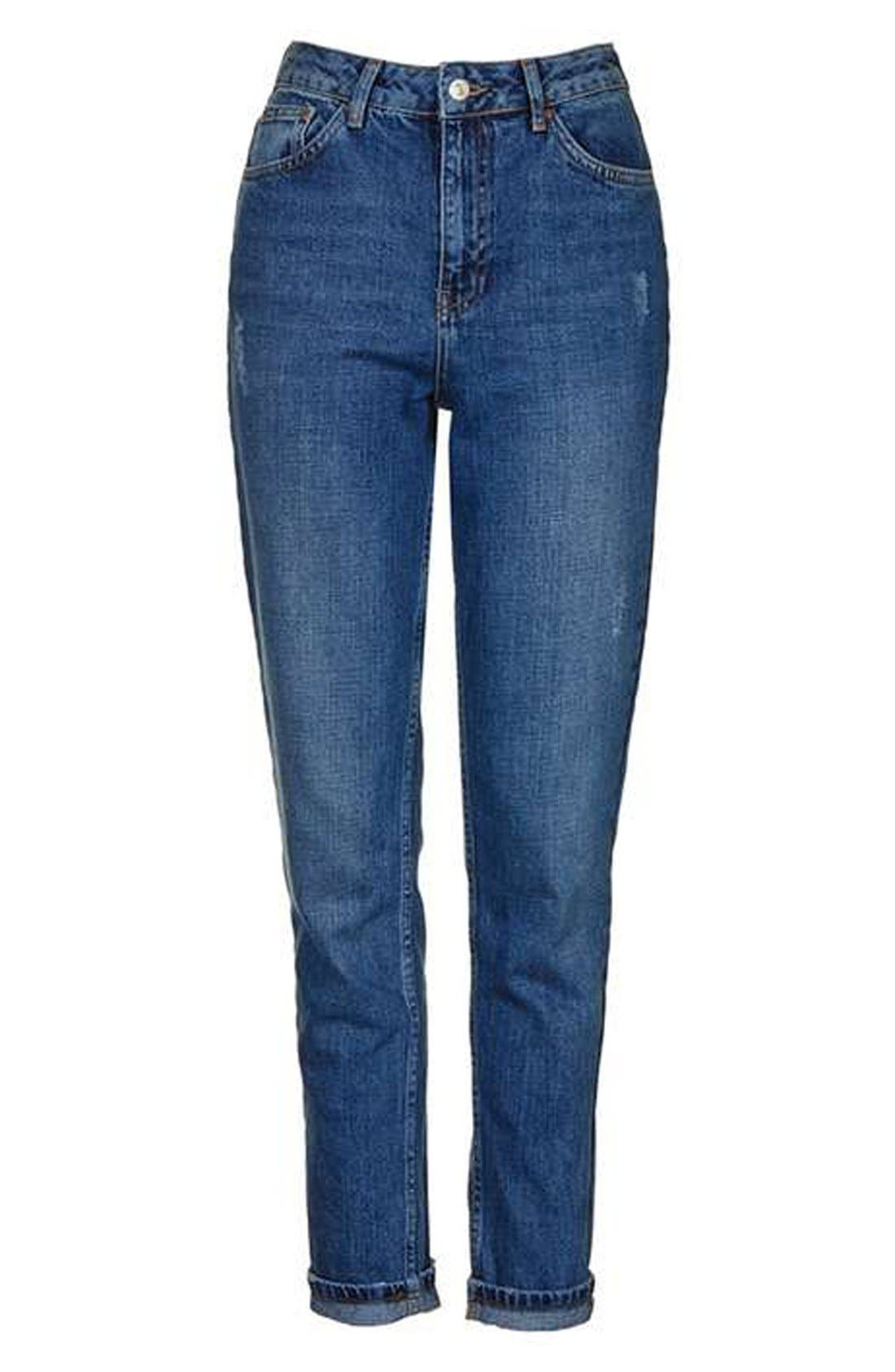 TOPSHOP, 'Mom' High Rise Jeans, Alternate thumbnail 4, color, 400