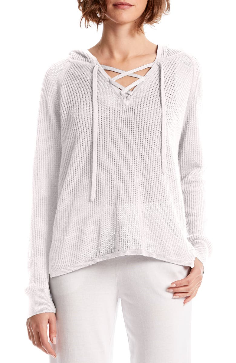 Michael Stars Tops KARTER LACE UP COTTON BLEND HOODIE