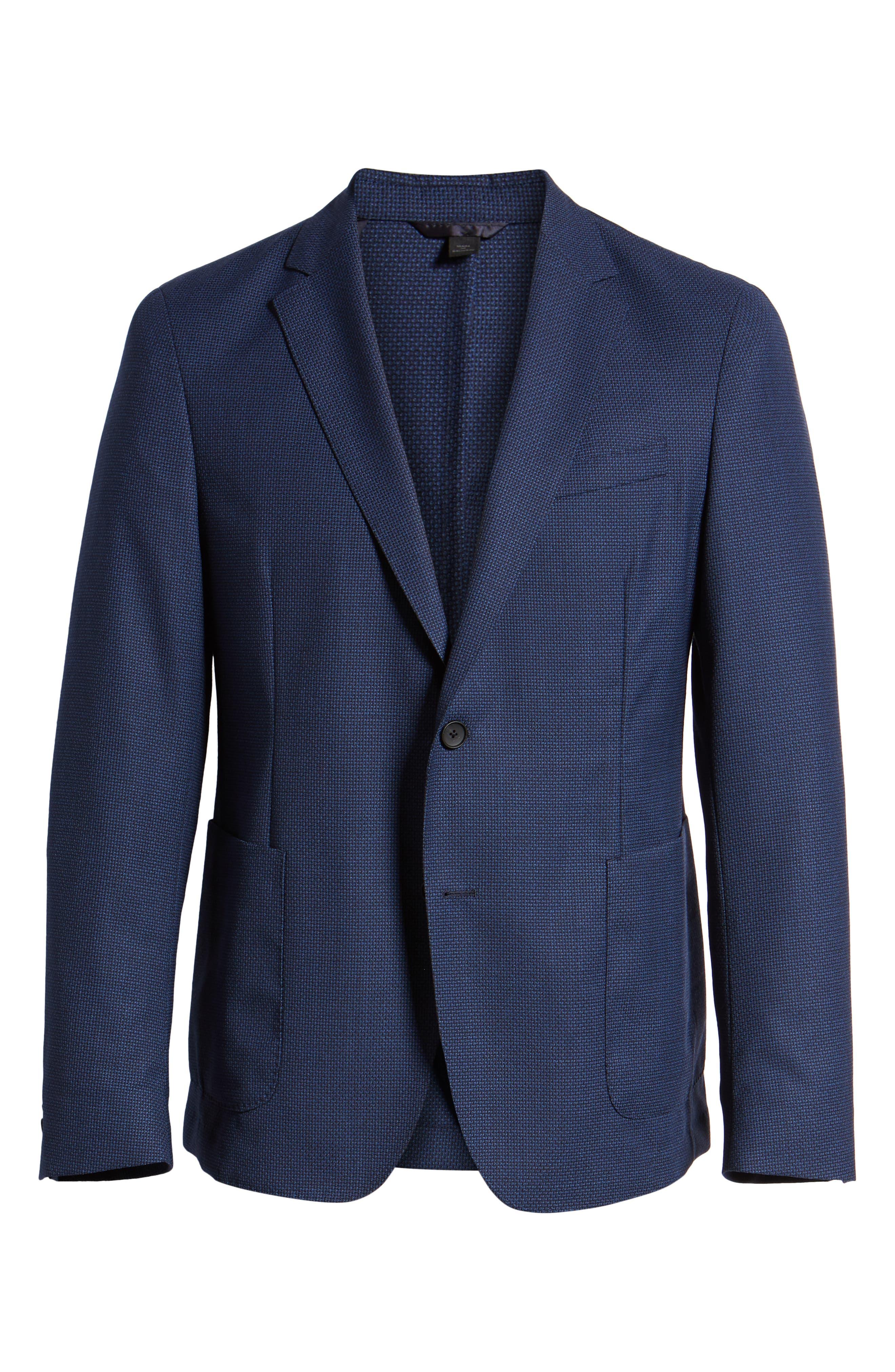BOSS, Nold Slim Fit Wool Blazer, Alternate thumbnail 5, color, BLUE