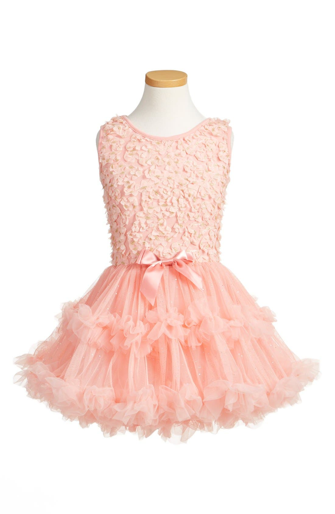 POPATU, Floral Appliqué Tutu Dress, Main thumbnail 1, color, PEACH